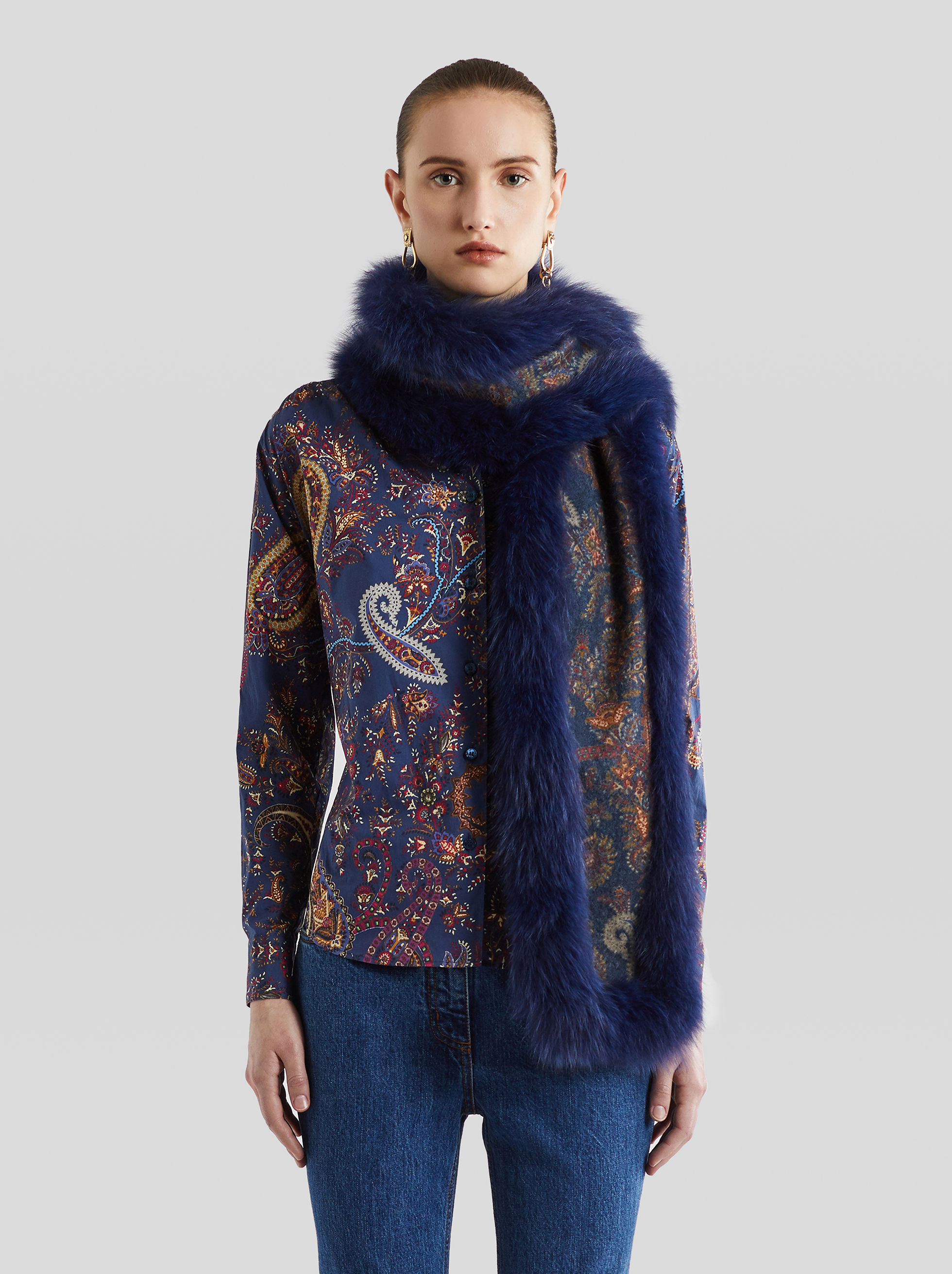 CASHMERE AND FUR SCARF