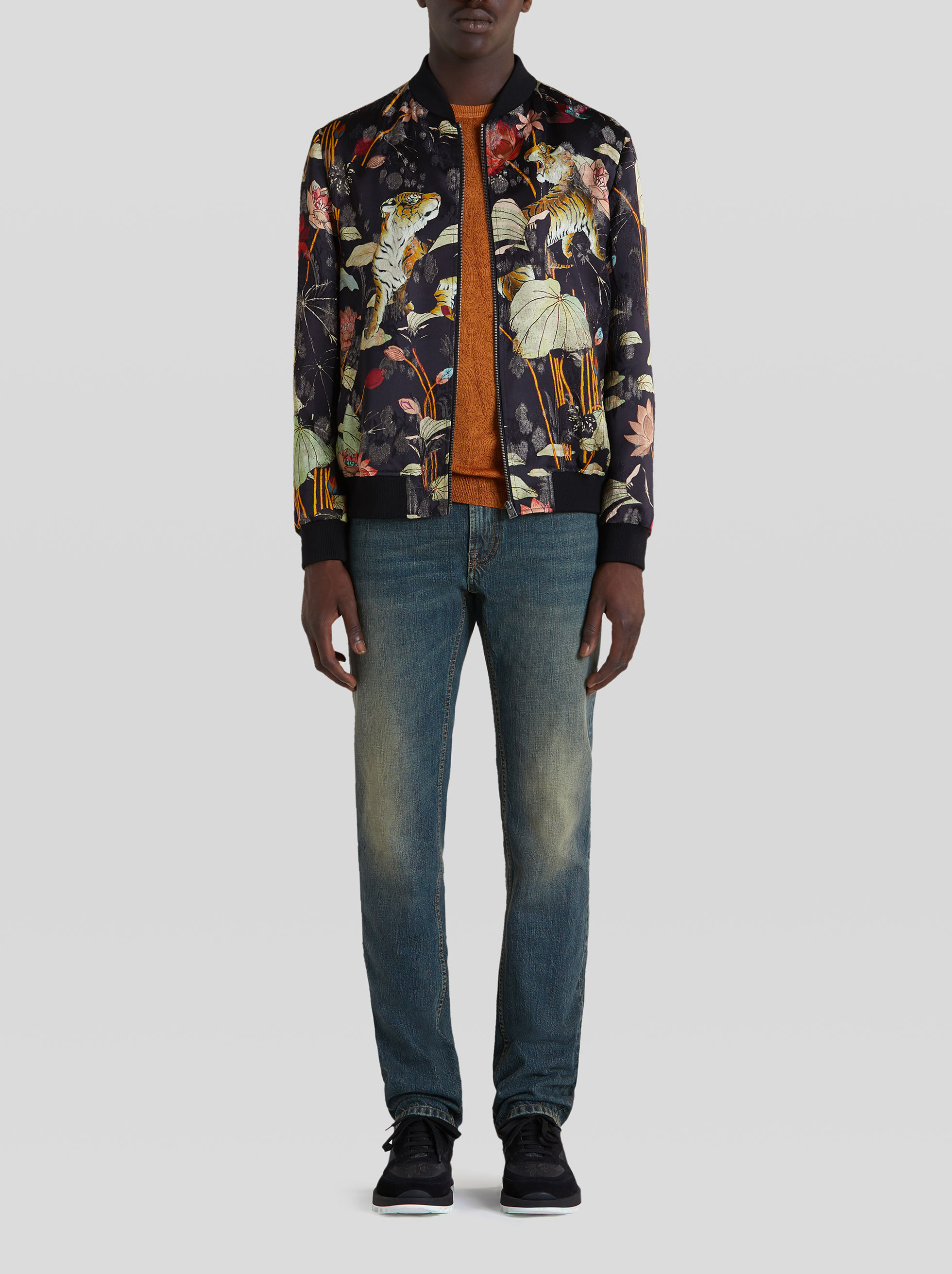 FLORAL AND TIGER PRINT BOMBER JACKET