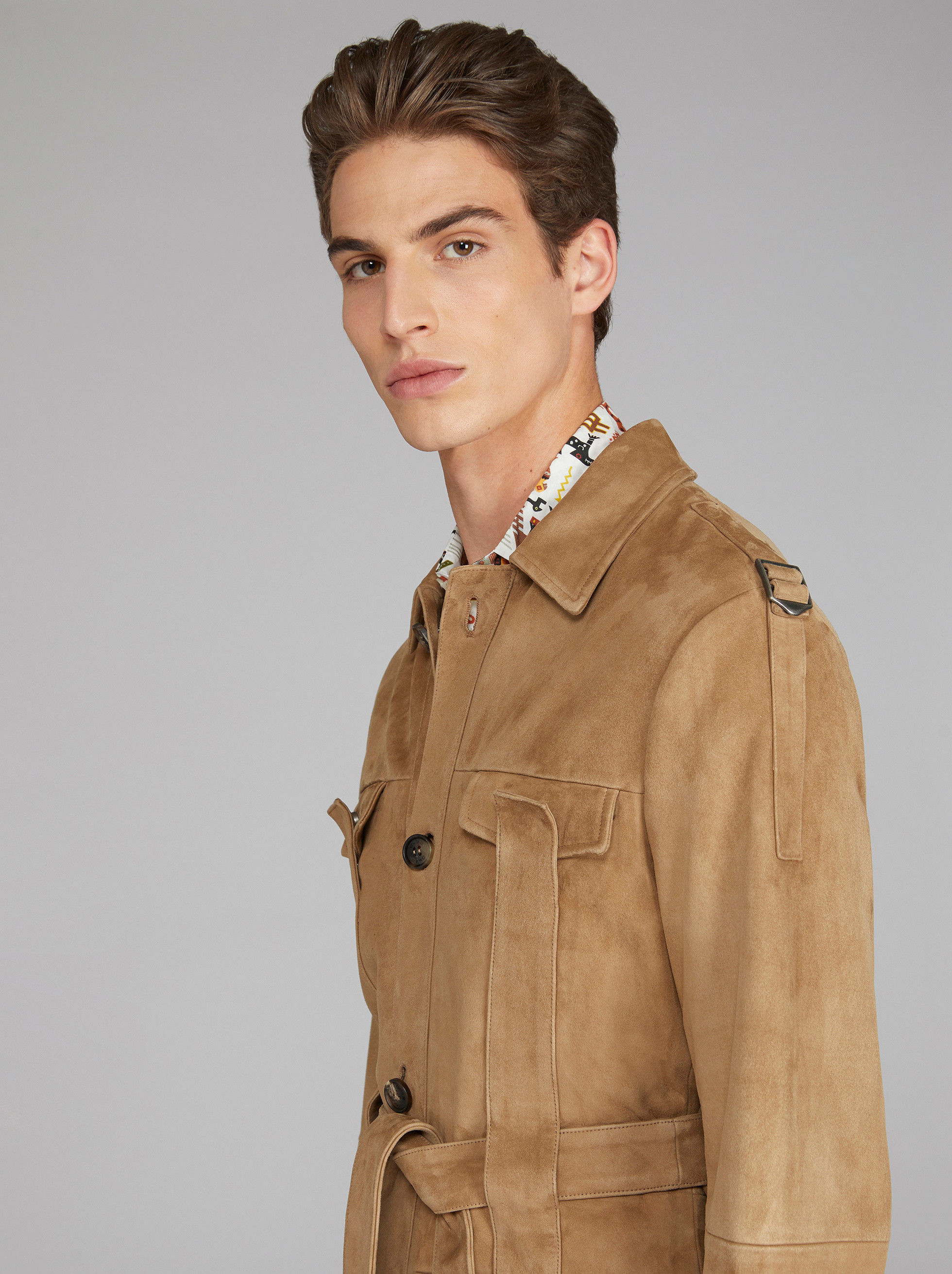 SUEDE FIELD JACKET WITH TAPES