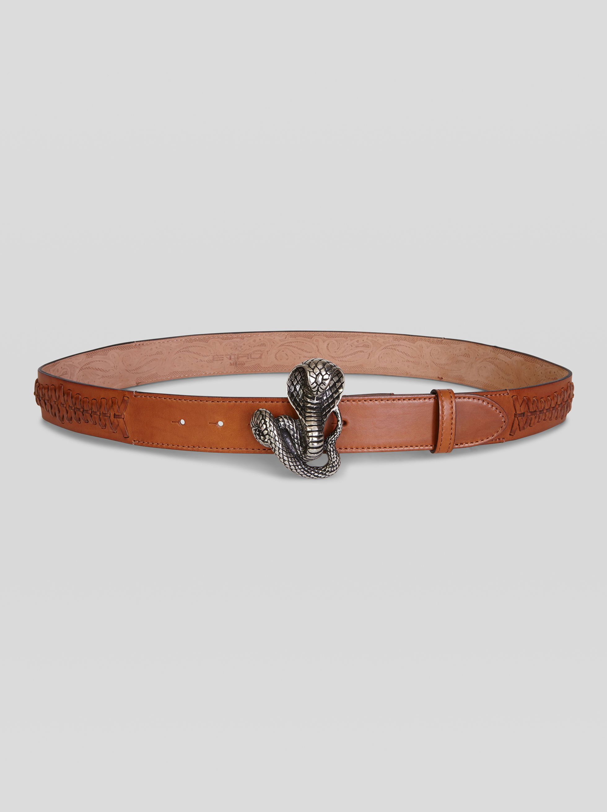 Etro LEATHER BELT WITH SNAKE BUCKLE