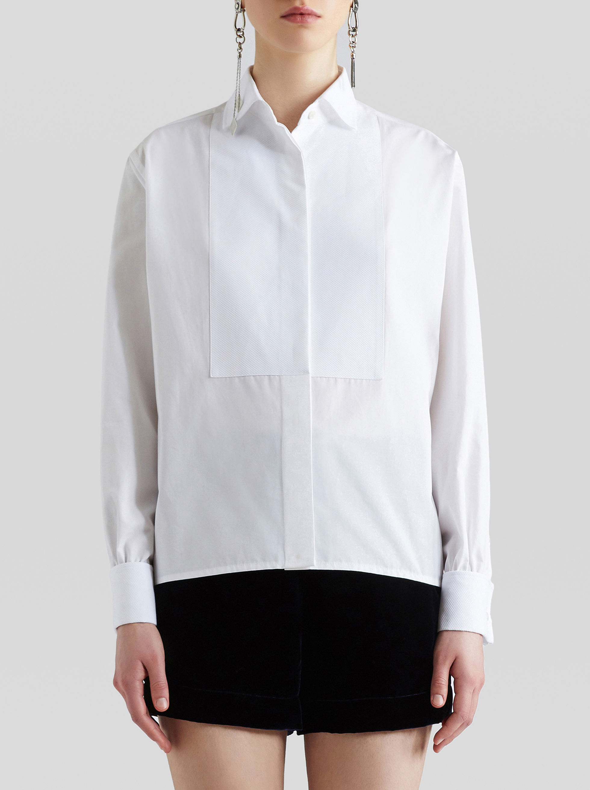 COTTON SHIRT WITH PLASTRON