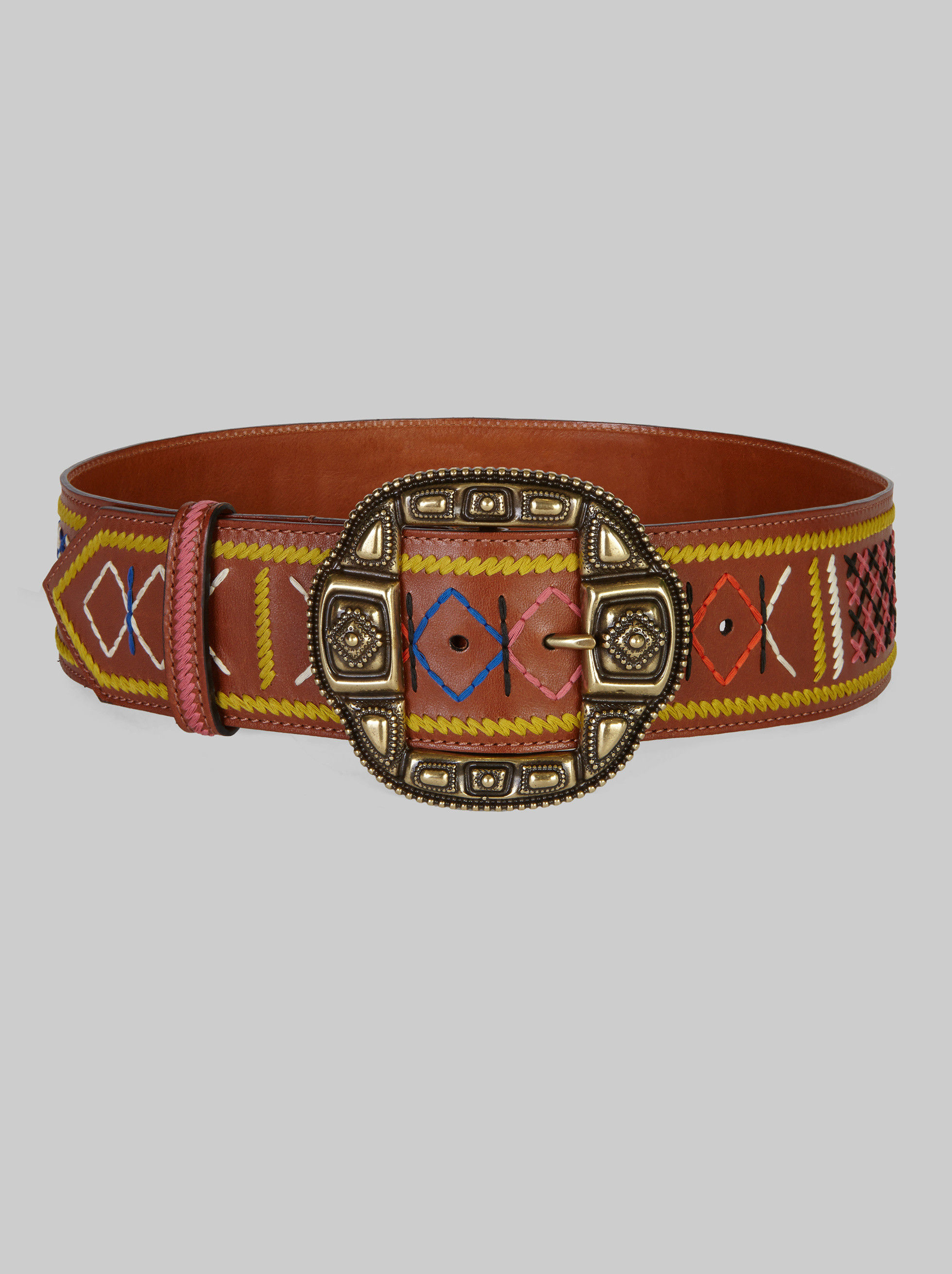 LEATHER BELT WITH MULTI-COLOUR EMBROIDERY