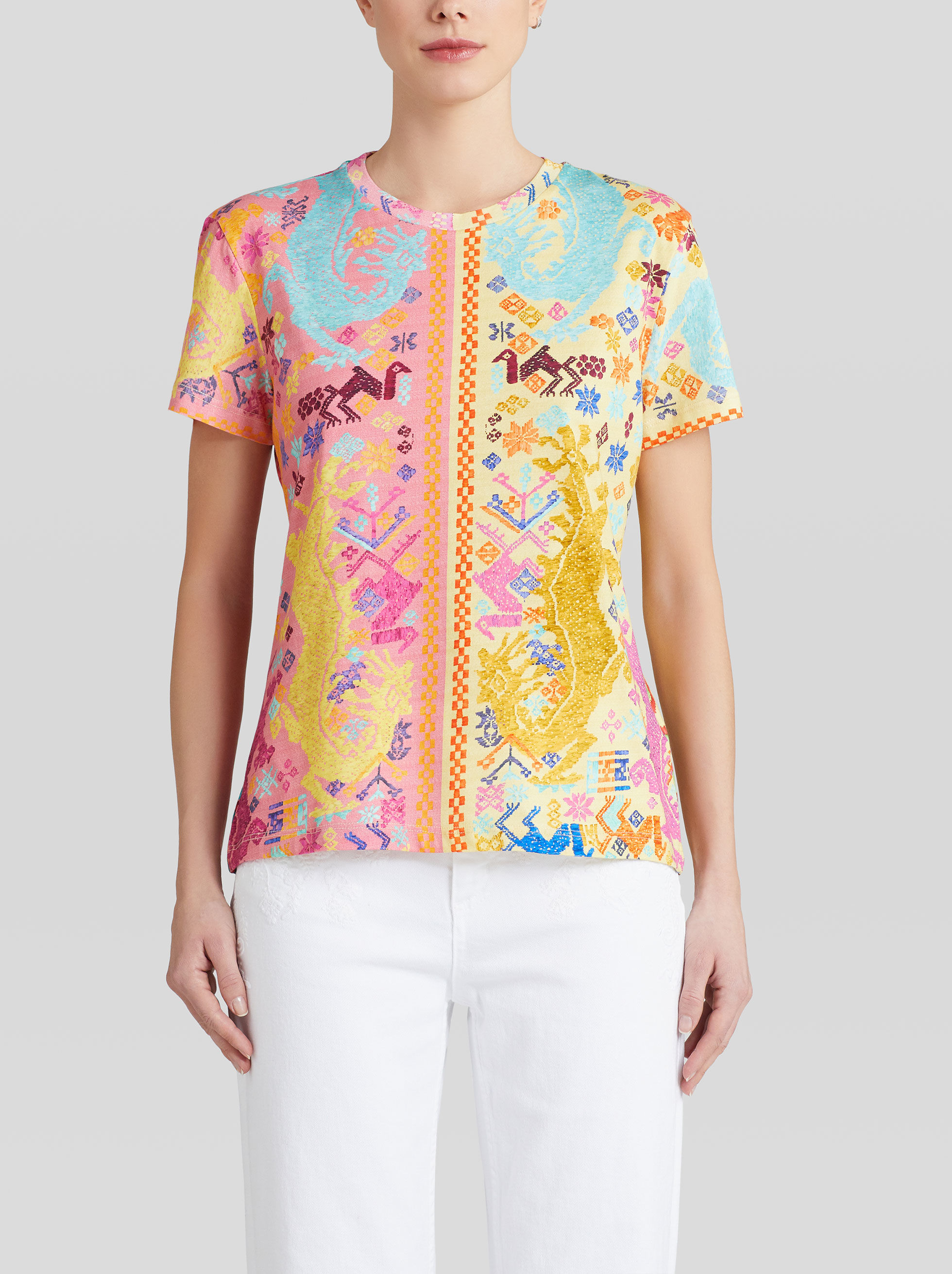 EMBROIDERY-EFFECT PRINT COTTON T-SHIRT