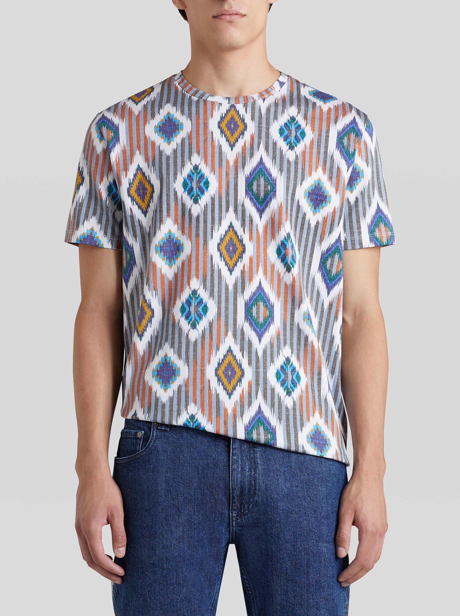 STRIPES AND GEOMETRIC PATTERN COTTON T-SHIRT