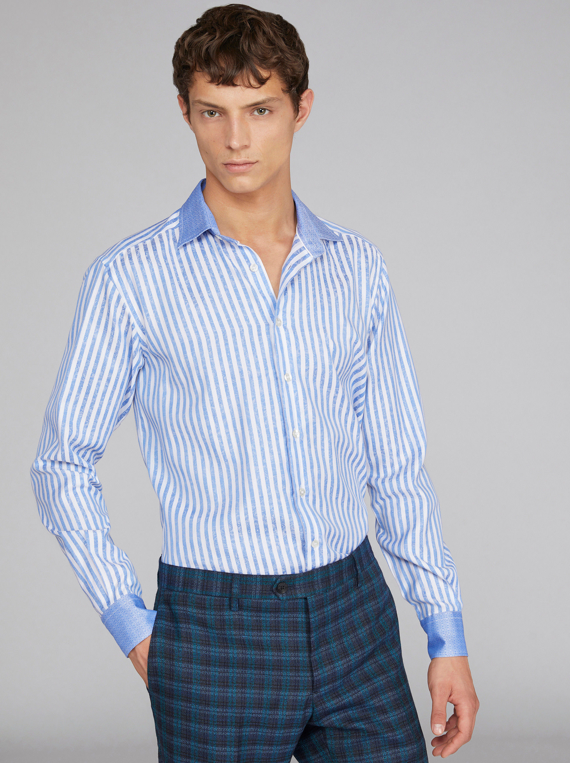 DUAL FABRIC JACQUARD STRIPED SHIRT