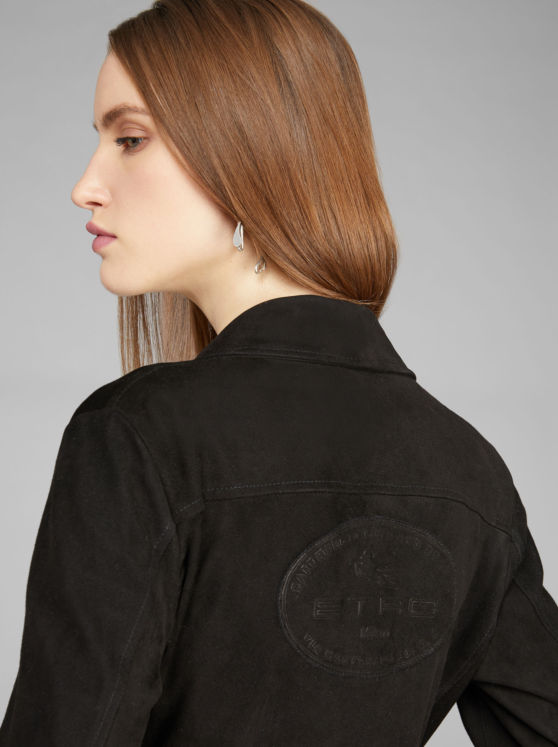 SUEDE JACKET WITH LOGO