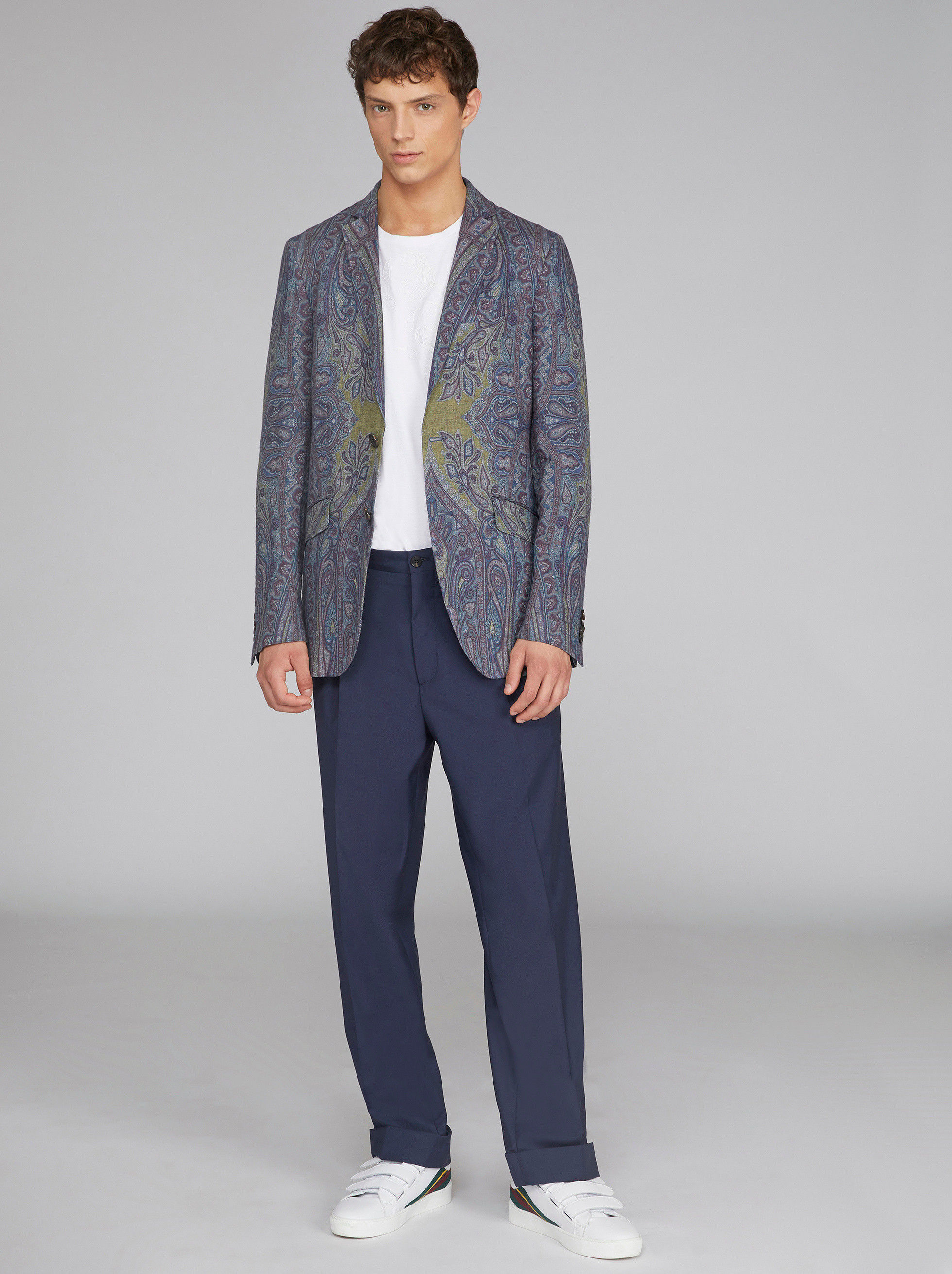 PAISLEY PRINT LINEN TAILORED JACKET
