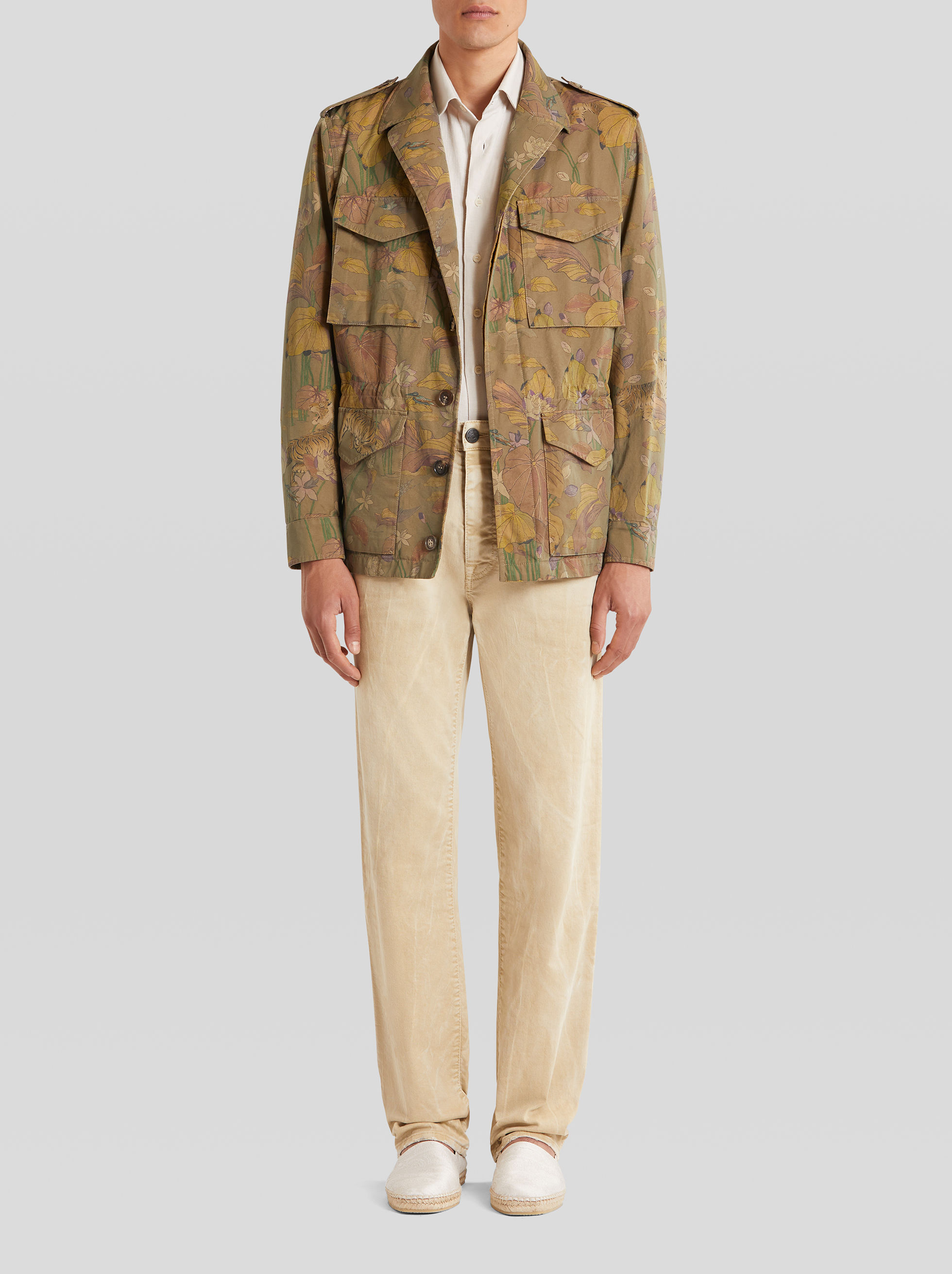 FLORAL AND TIGER PRINT COTTON SAFARI JACKET