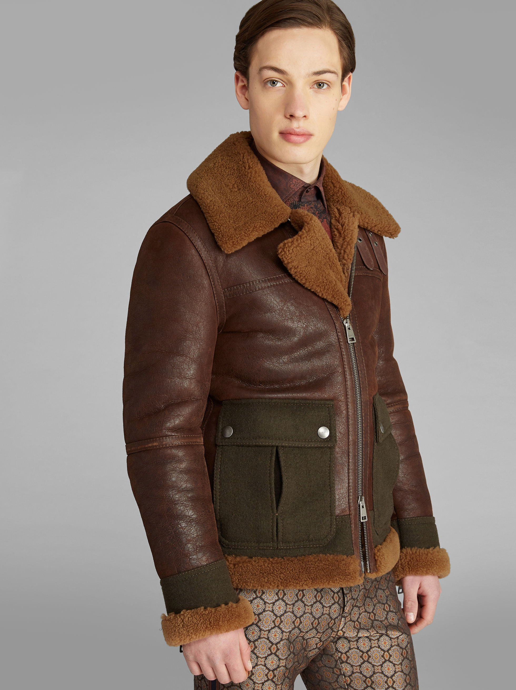PATCHWORK SHEARLING JACKET