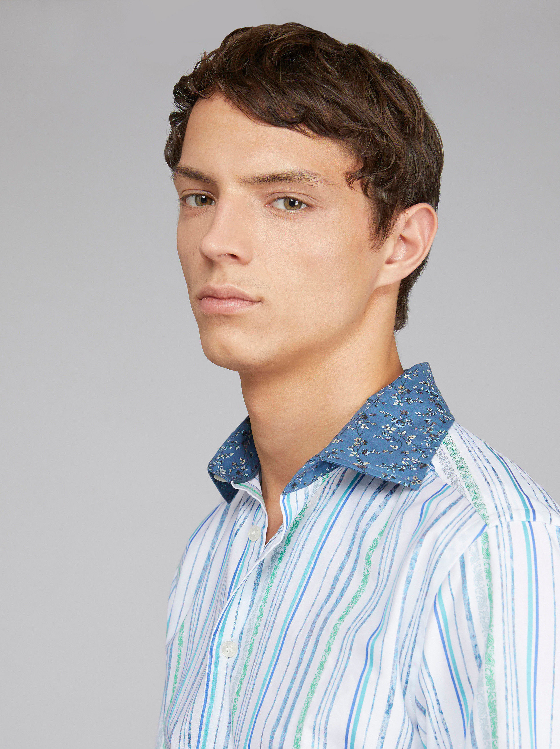 DUAL FABRIC PAISLEY STRIPED SHIRT