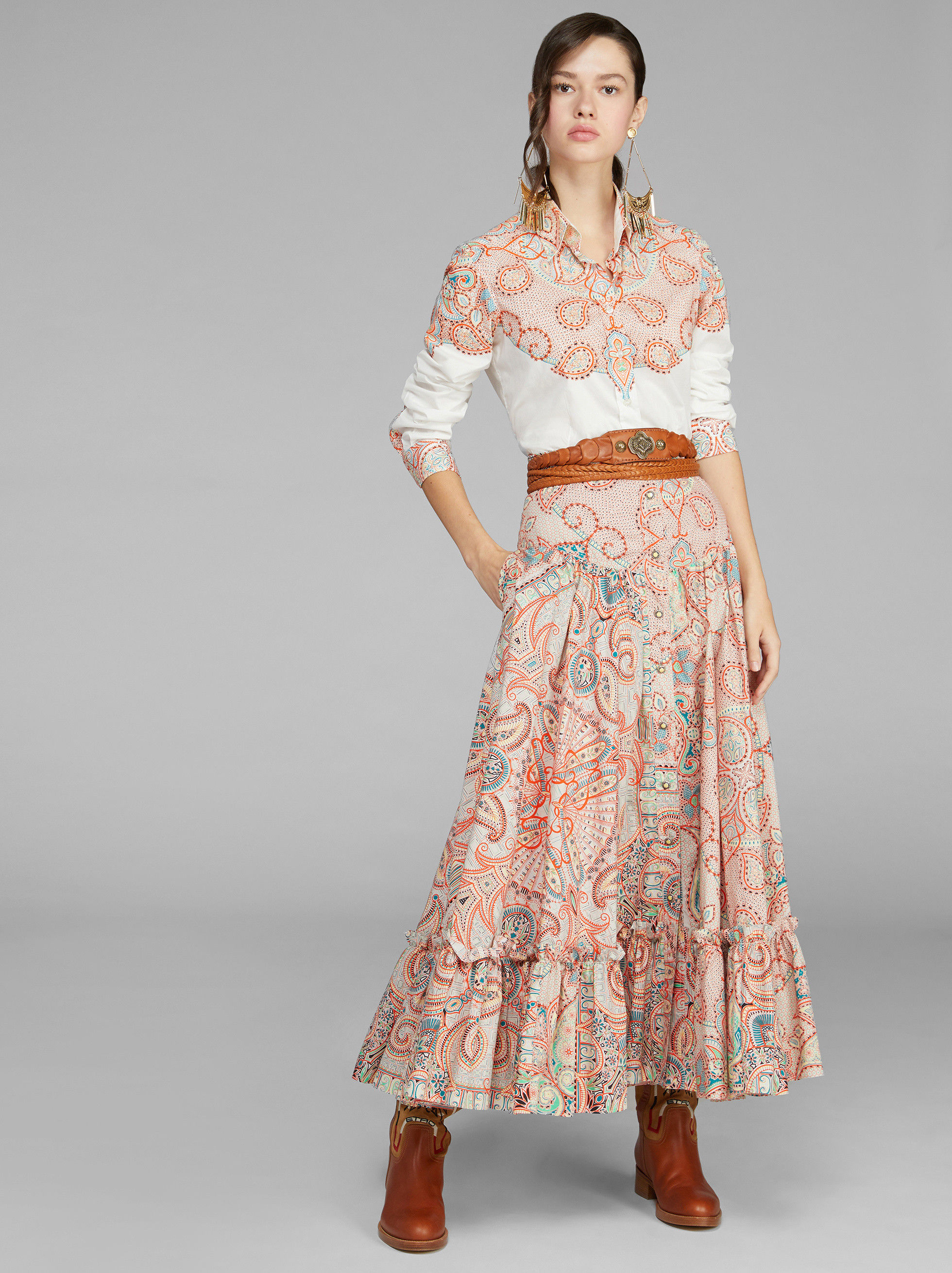 PAISLEY PRINT SKIRT WITH RUCHES