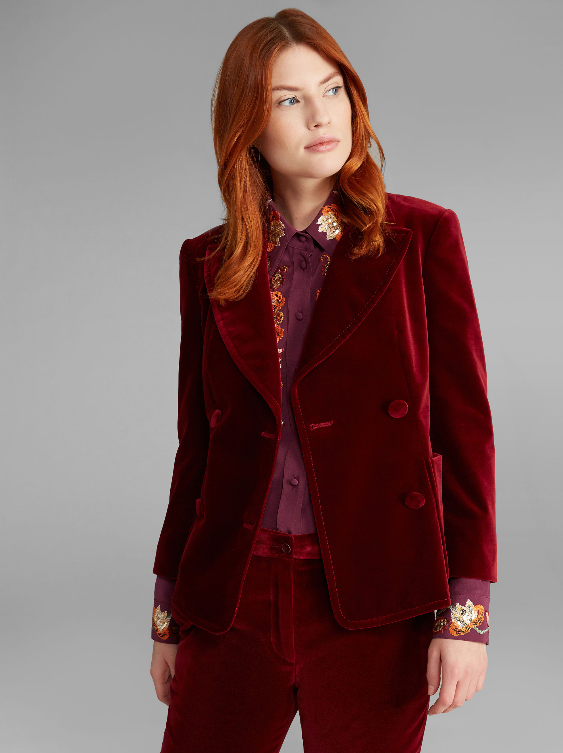 VELVET DOUBLE-BREASTED JACKET
