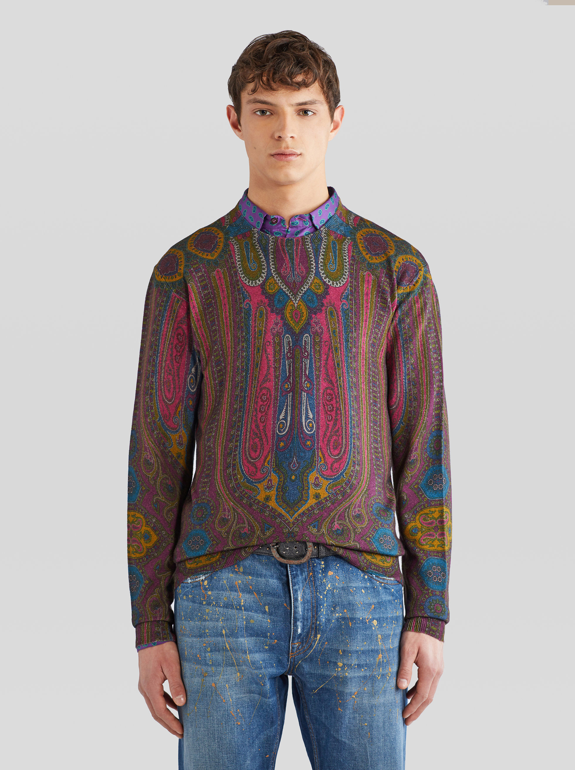 WOOL JUMPER WITH PAISLEY PRINT