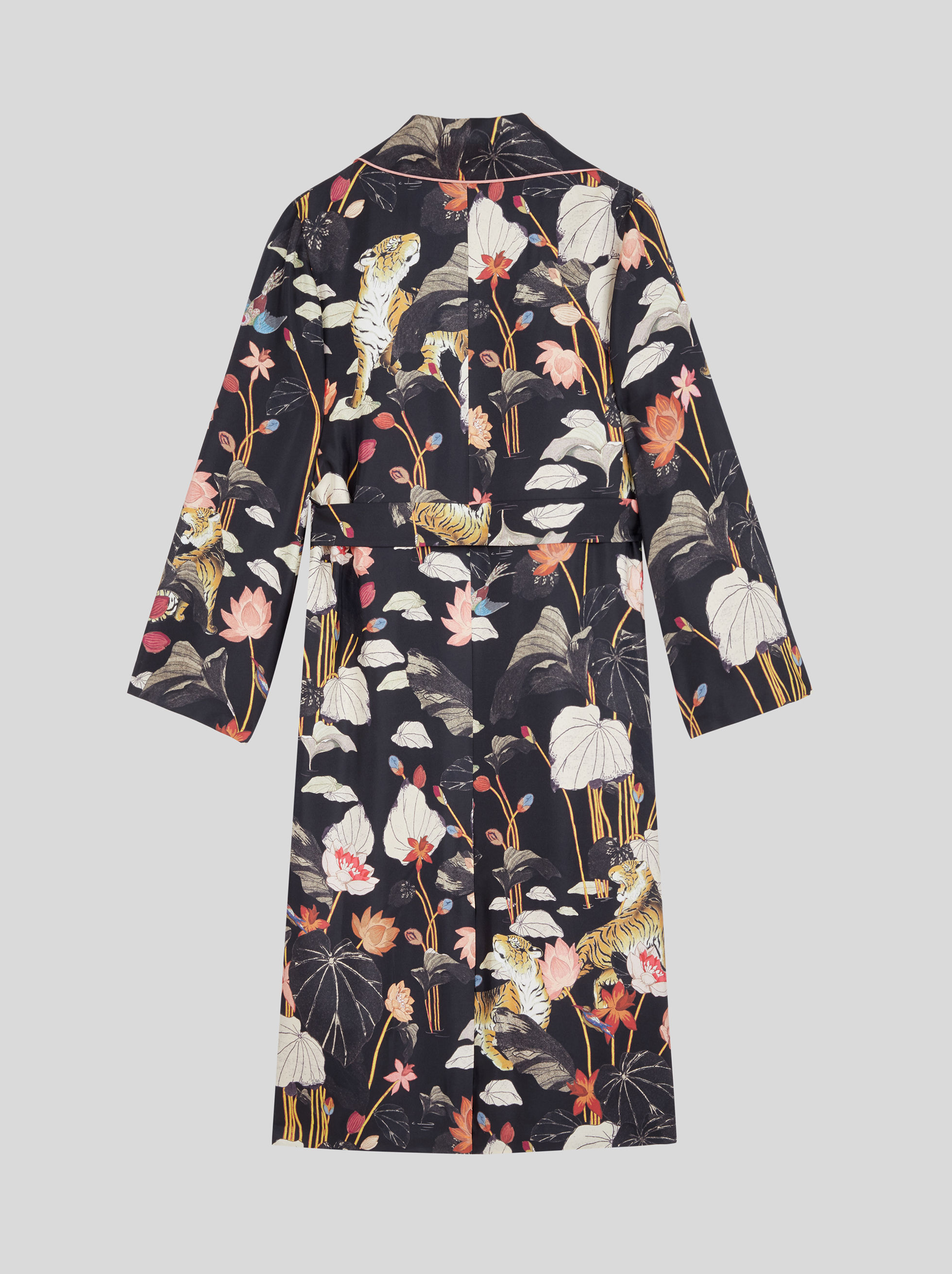 LIGHT SILK COAT WITH TIGER AND WATER LILY PRINT