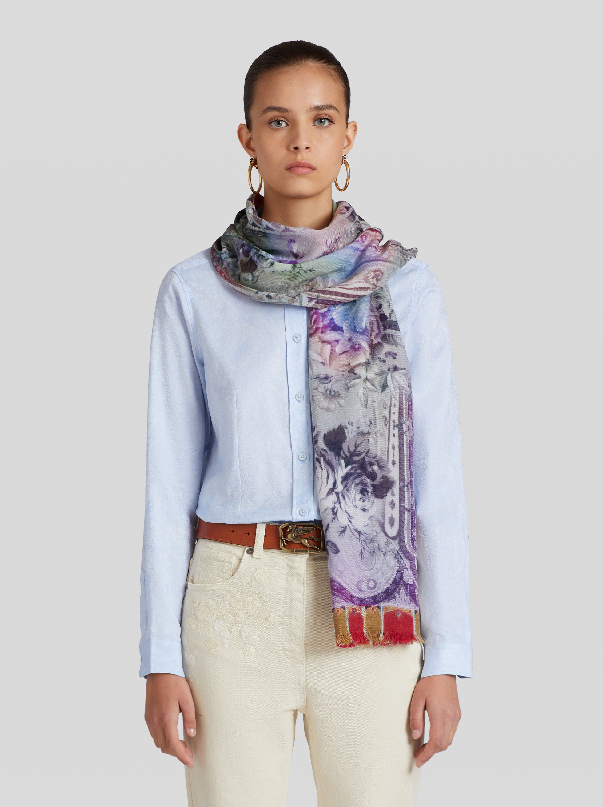 FLORAL PRINT WOOL AND SILK SCARF