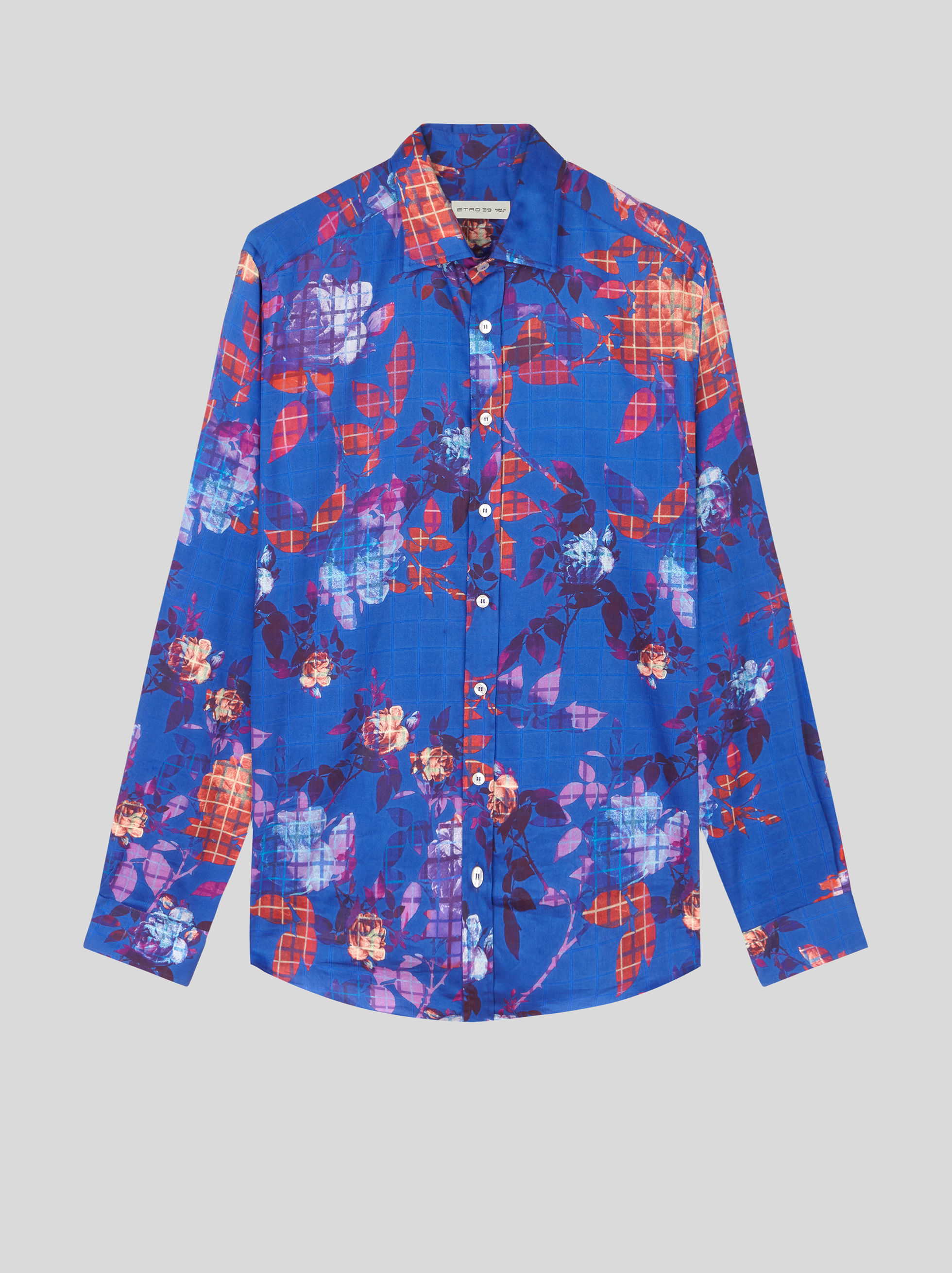 SHIRT WITH FLORAL CHECK PRINT