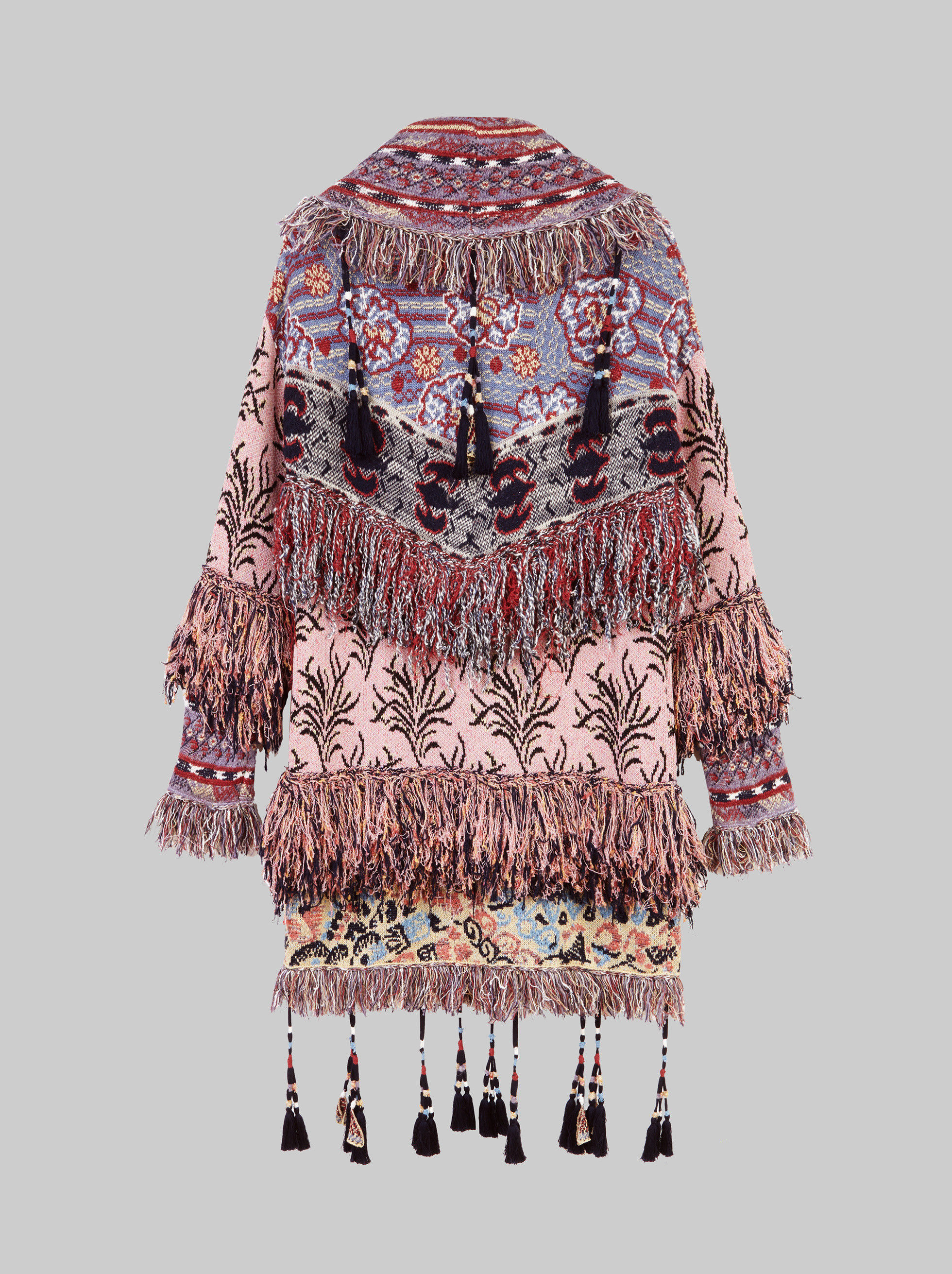 JACQUARD KNITTED COAT WITH TASSELS