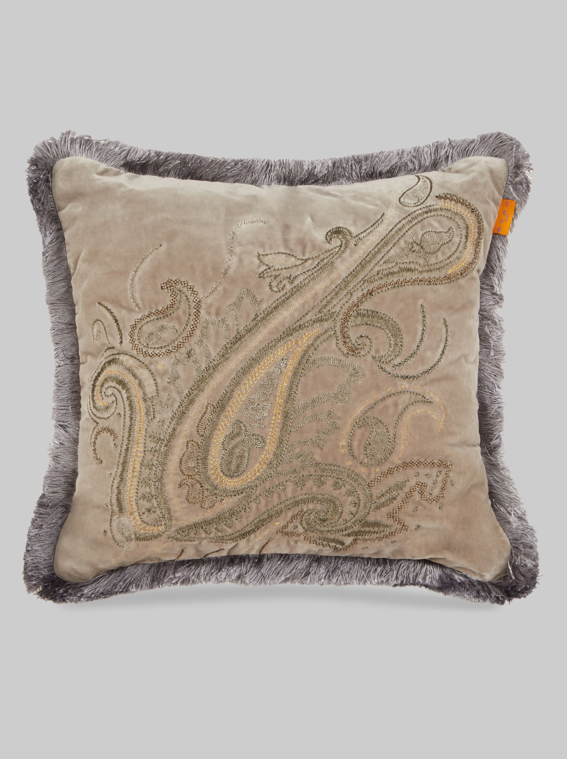 CUSHION WITH PAISLEY EMBROIDERY AND FRINGE
