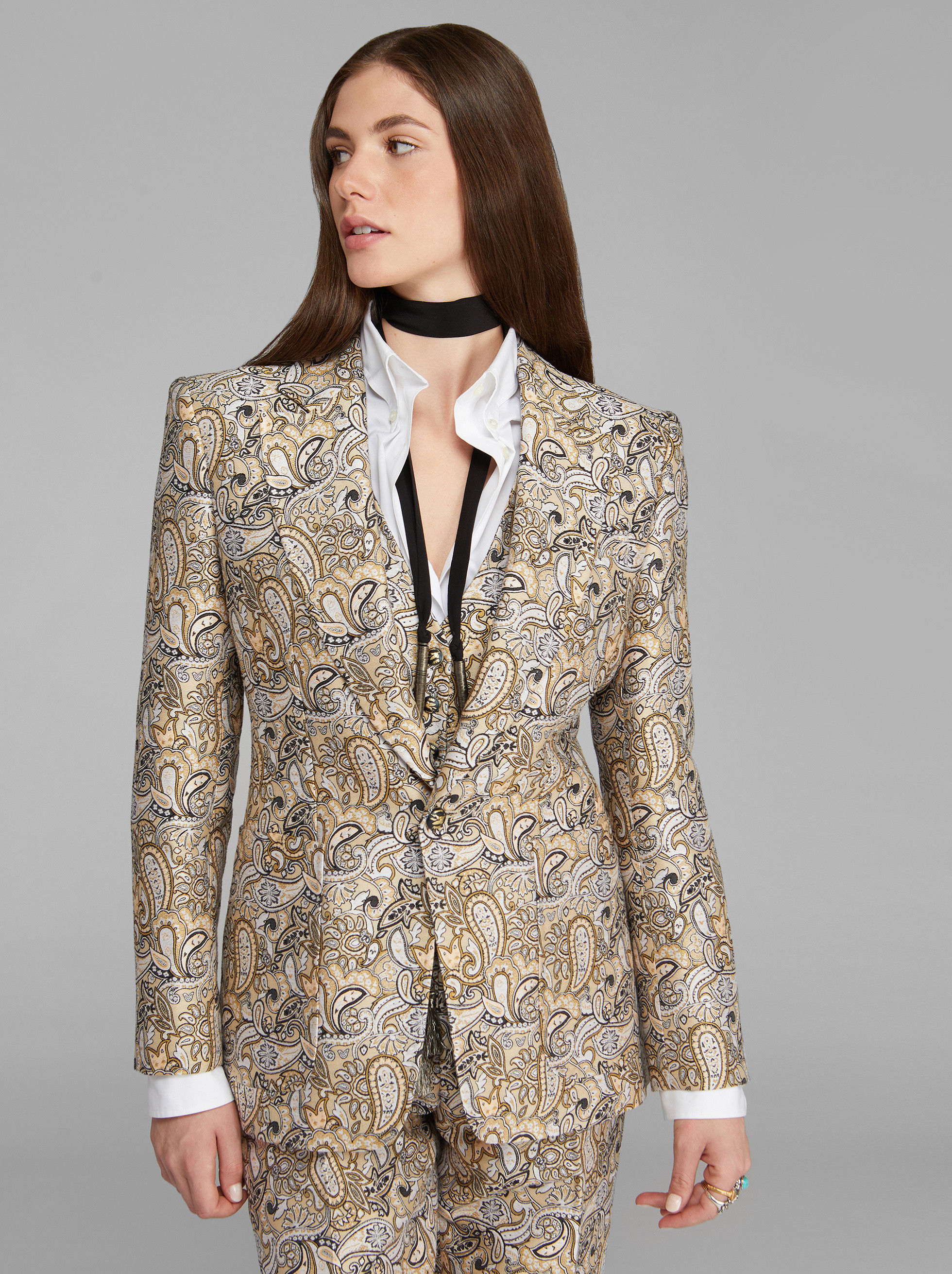 JACQUARD TAILORED JACKET WITH PAISLEY PATTERNS