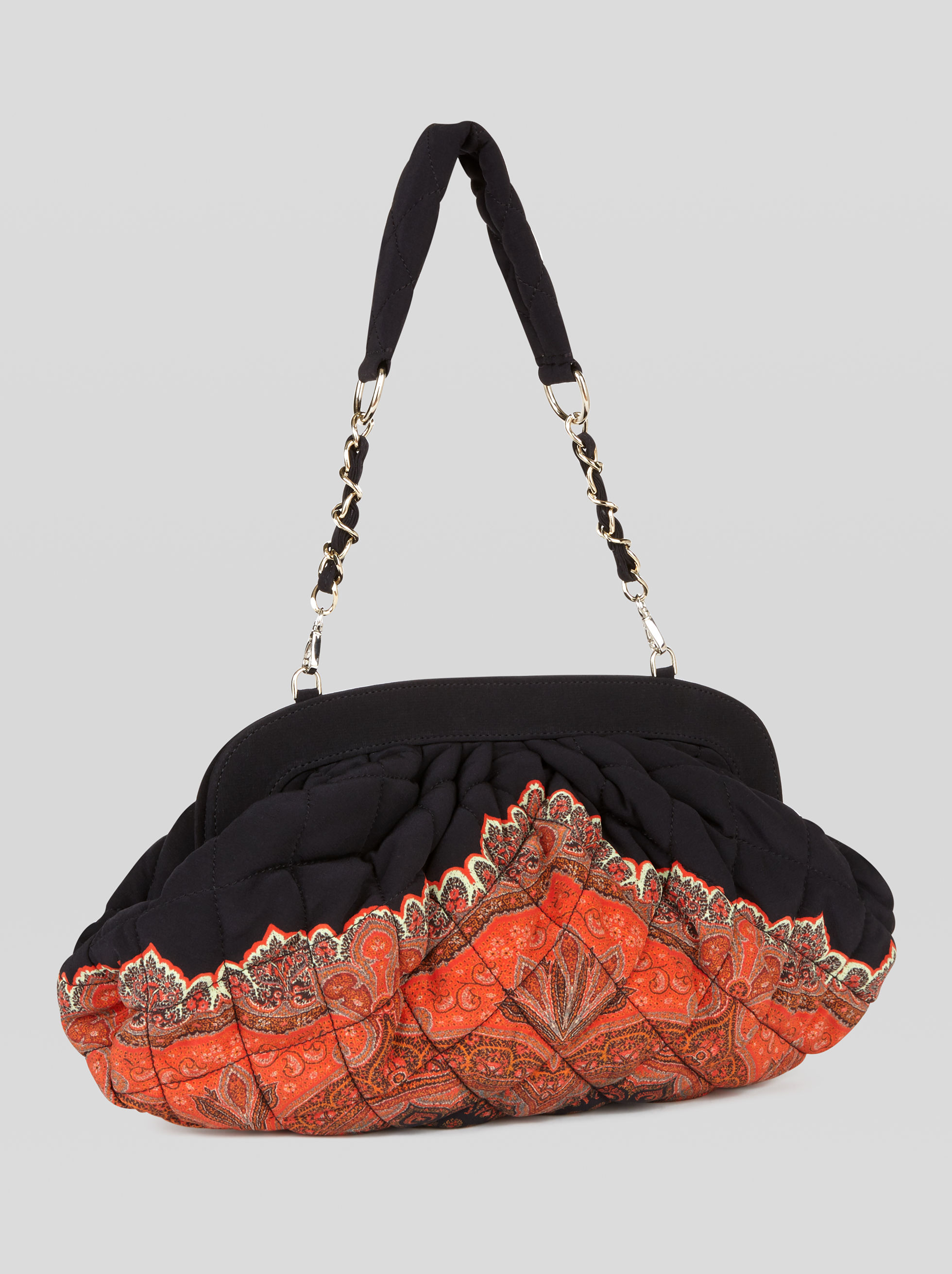 MATELASSÉ SHOULDER BAG WITH PAISLEY PRINT