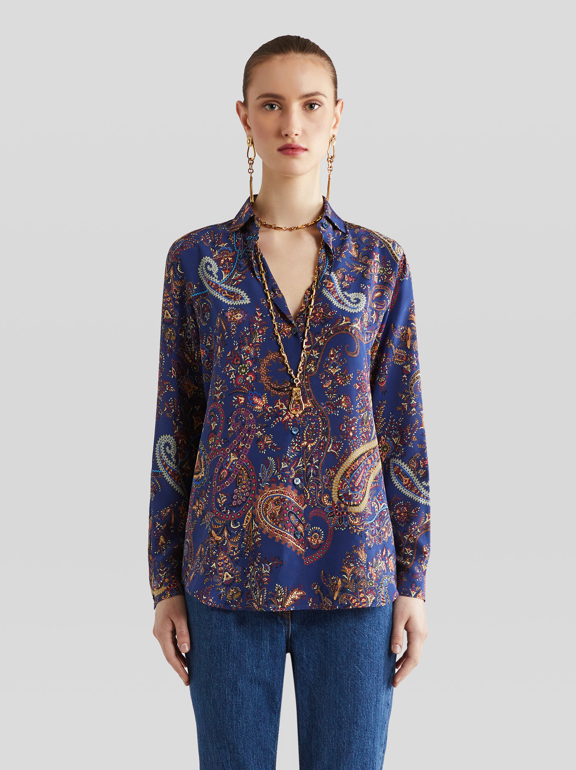 PAISLEY PATTERN SILK SHIRT