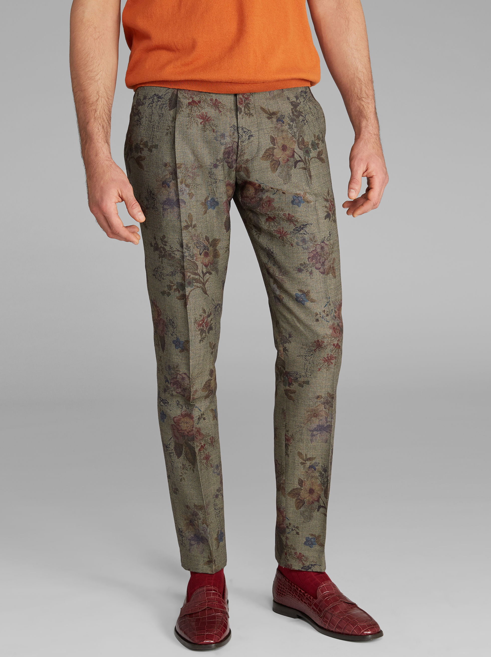 FLORAL-PRINT TROUSERS
