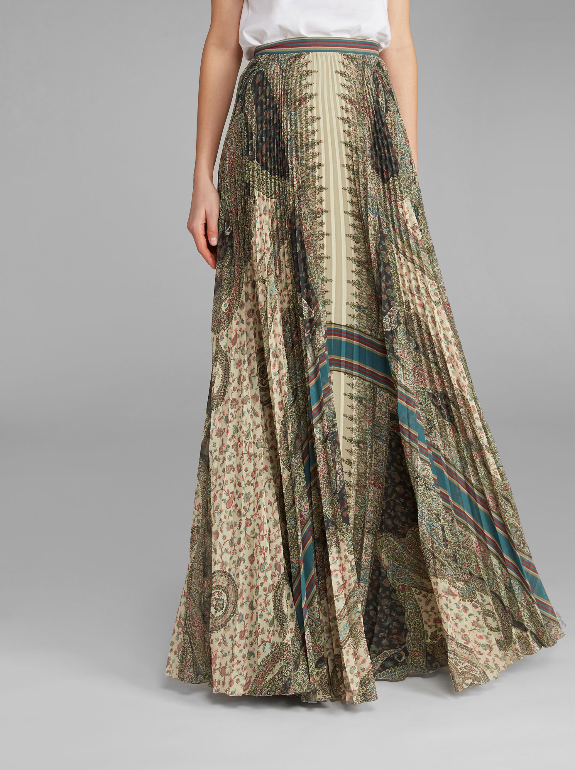 PAISLEY-PRINT MAXI PLEATED SKIRT