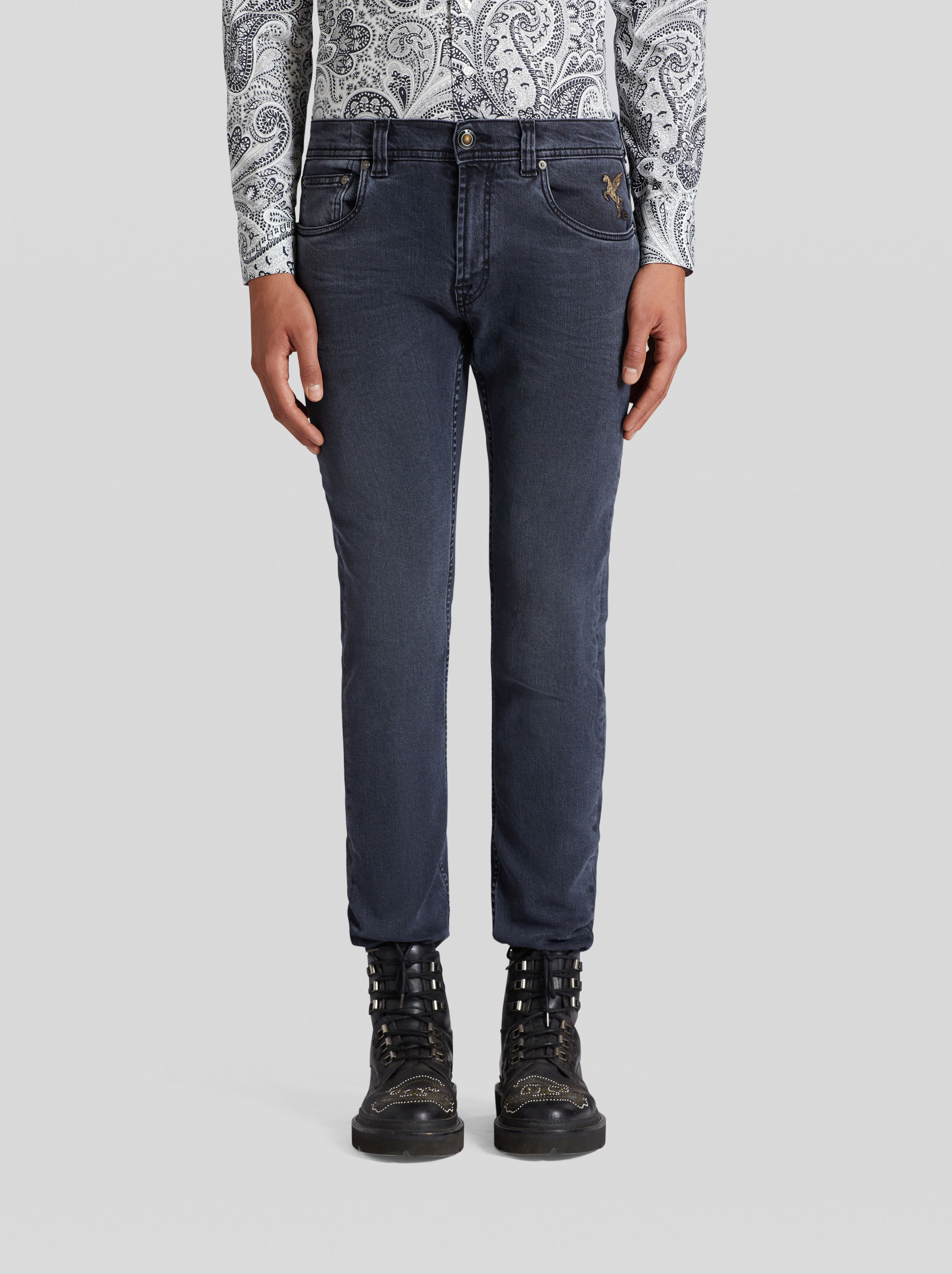 BENETROESSERE JEANS WITH EMBROIDERED PEGASO
