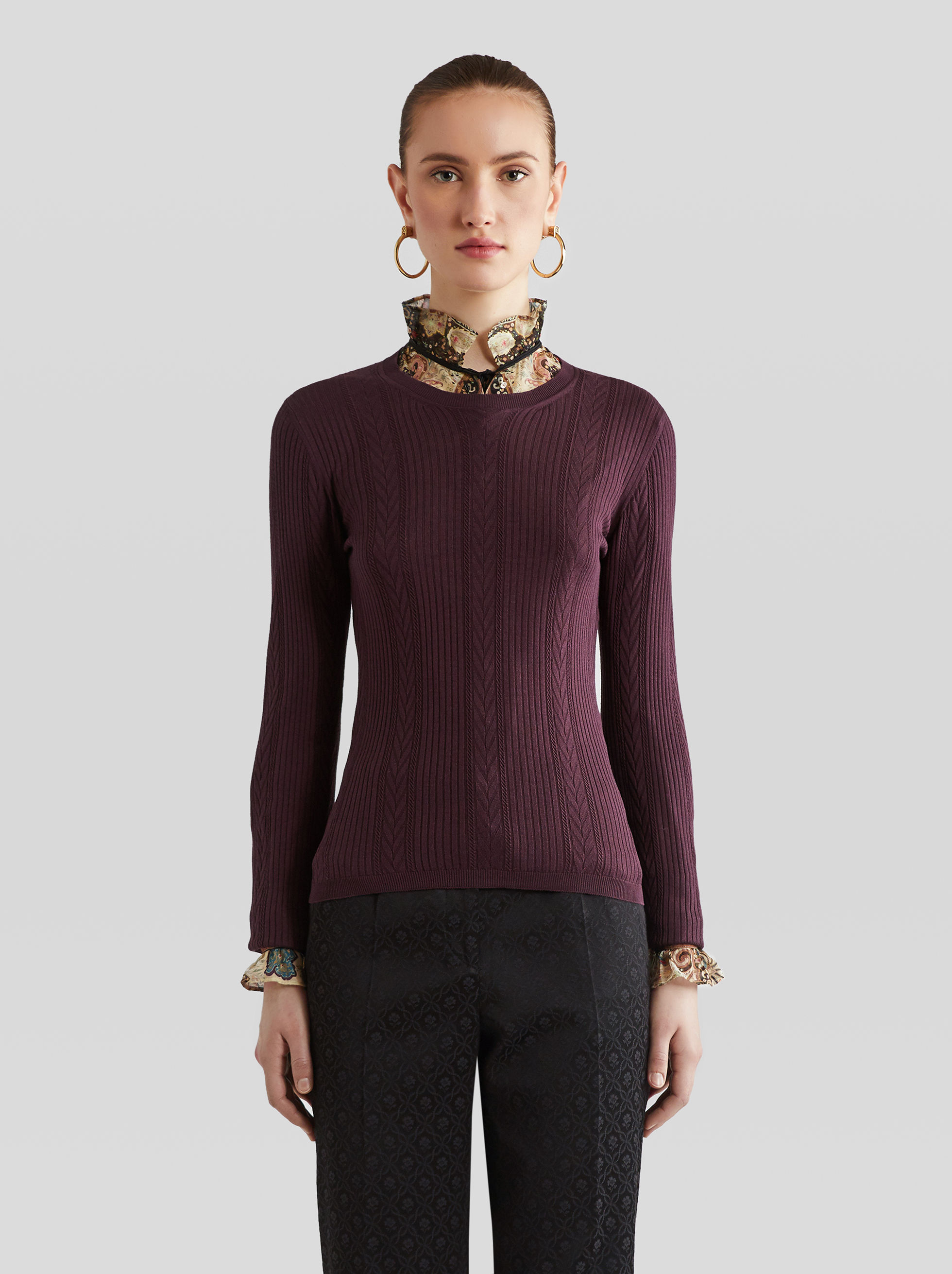 JUMPER WITH INTERWOVEN STRIPED PATTERN