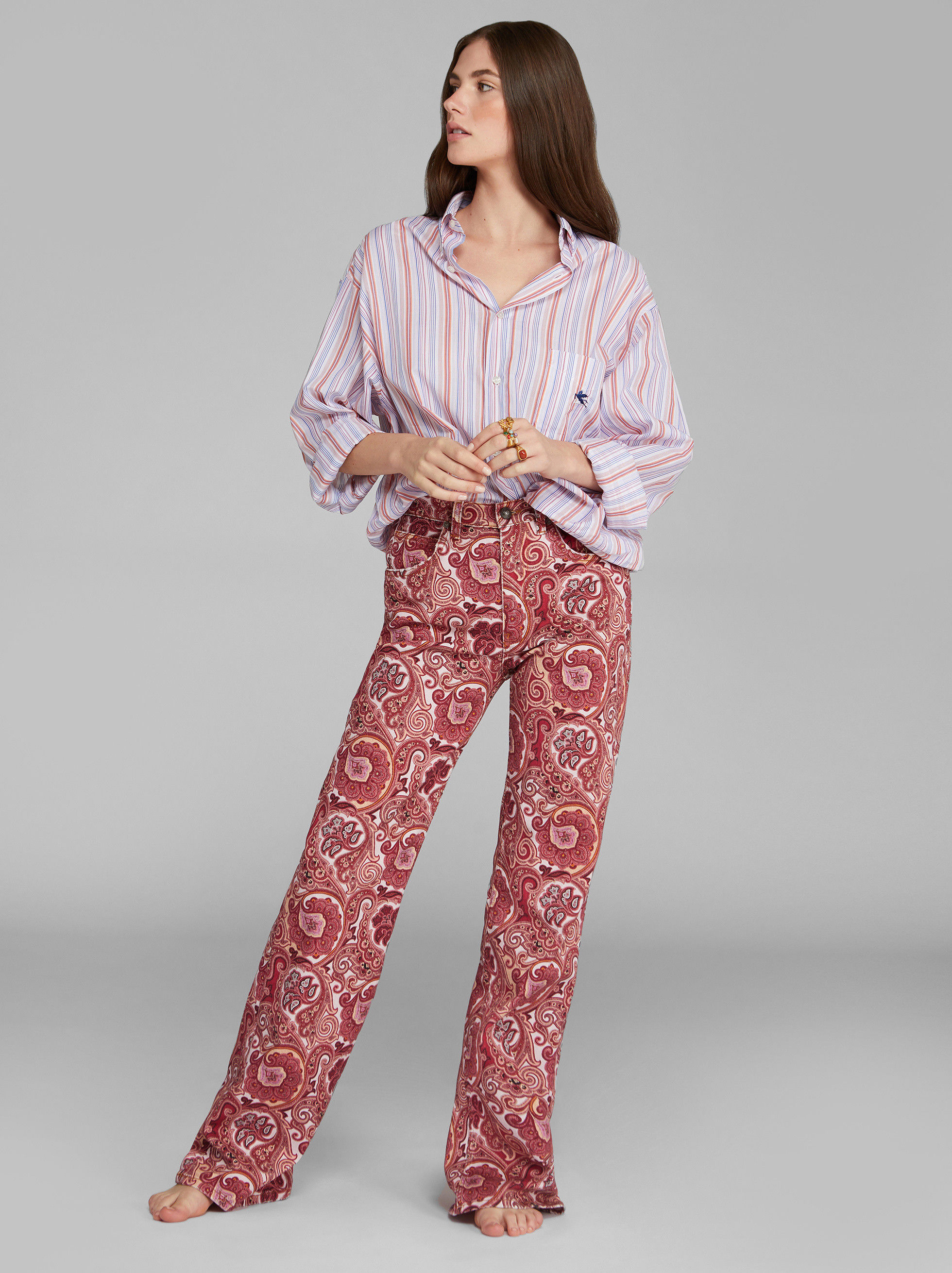 FLARED JEANS WITH PAISLEY PATTERNS
