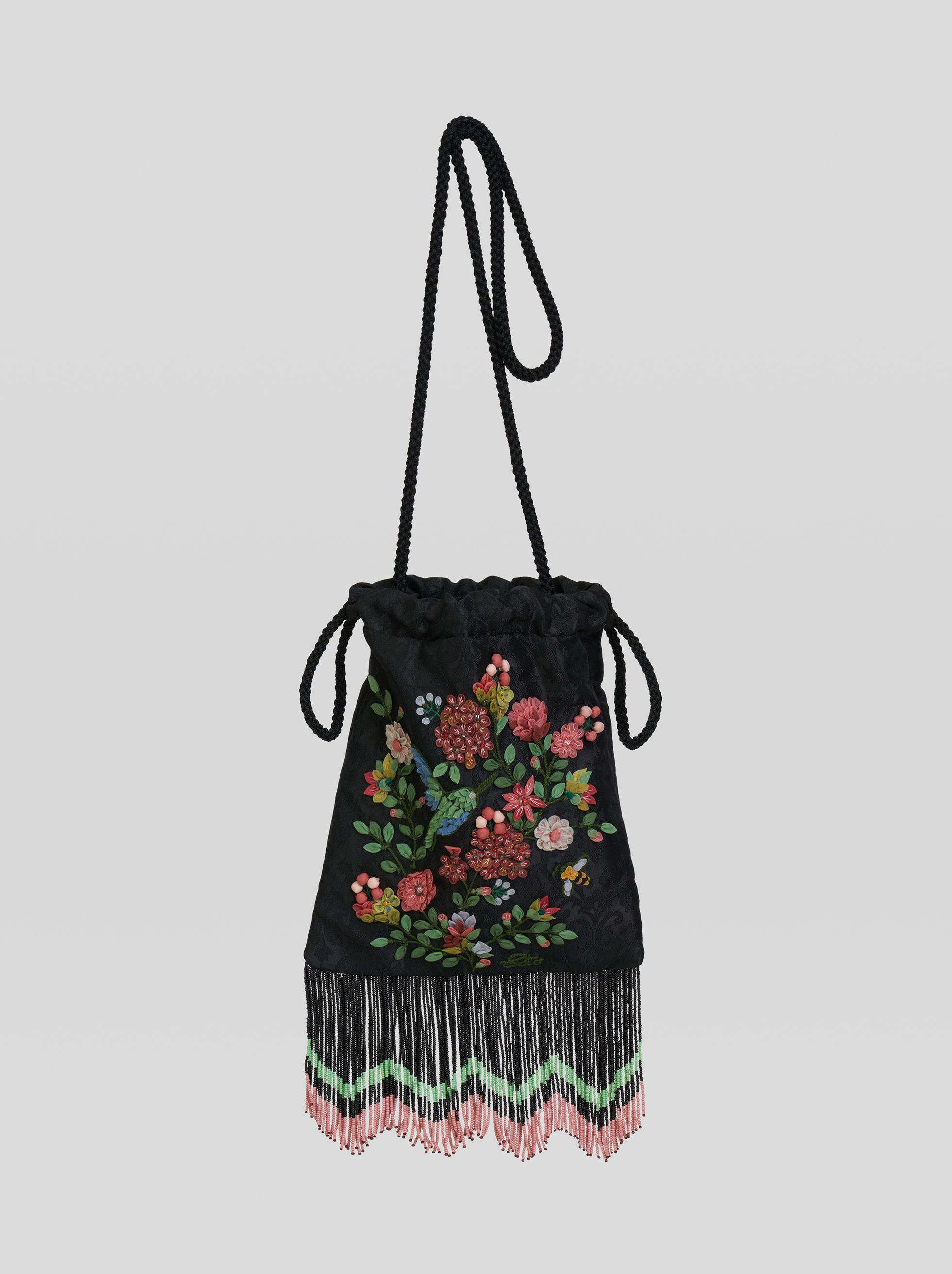 EMBROIDERY AND BEAD BUCKET BAG