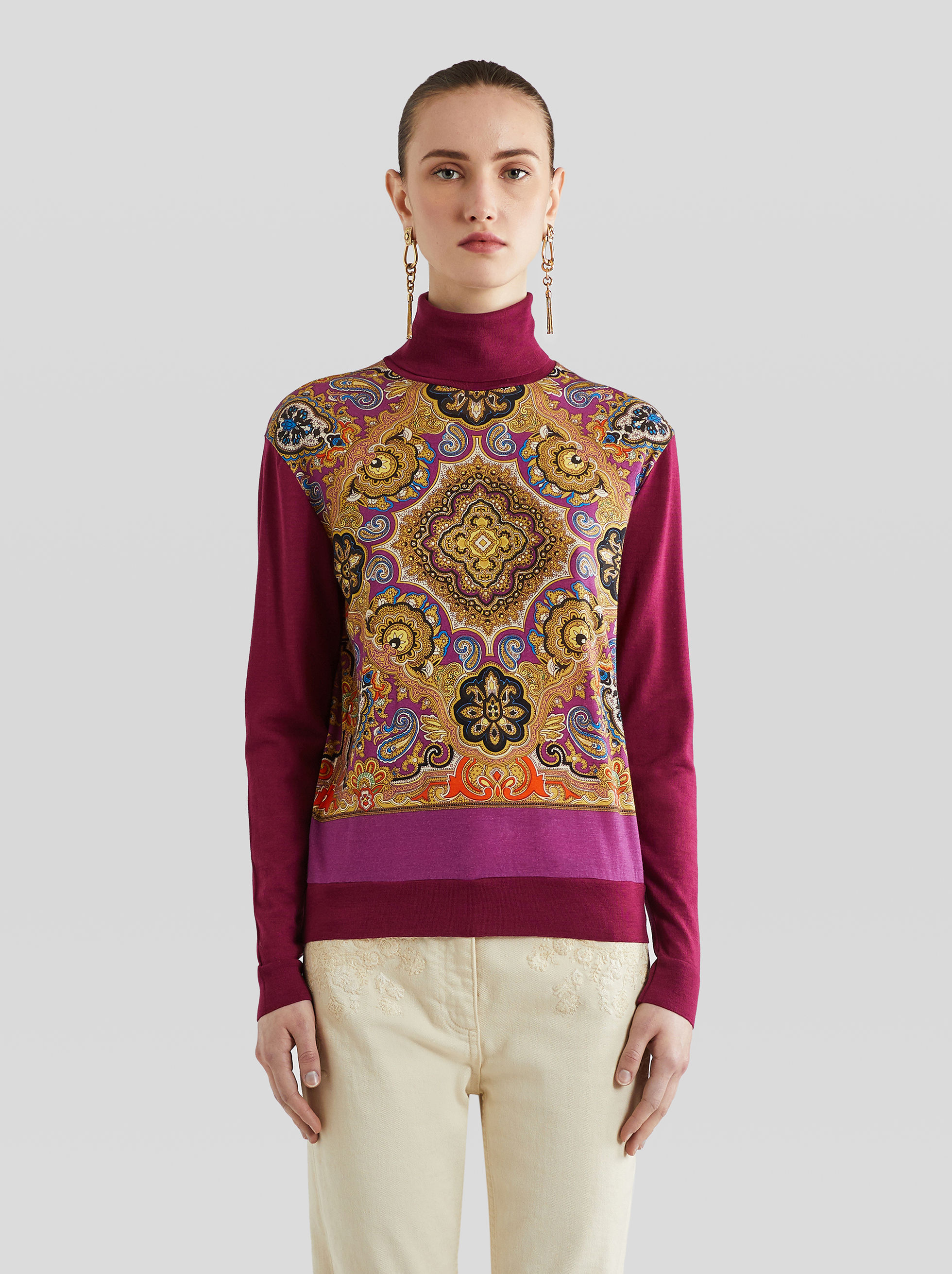 PAISLEY PRINT JERSEY JUMPER