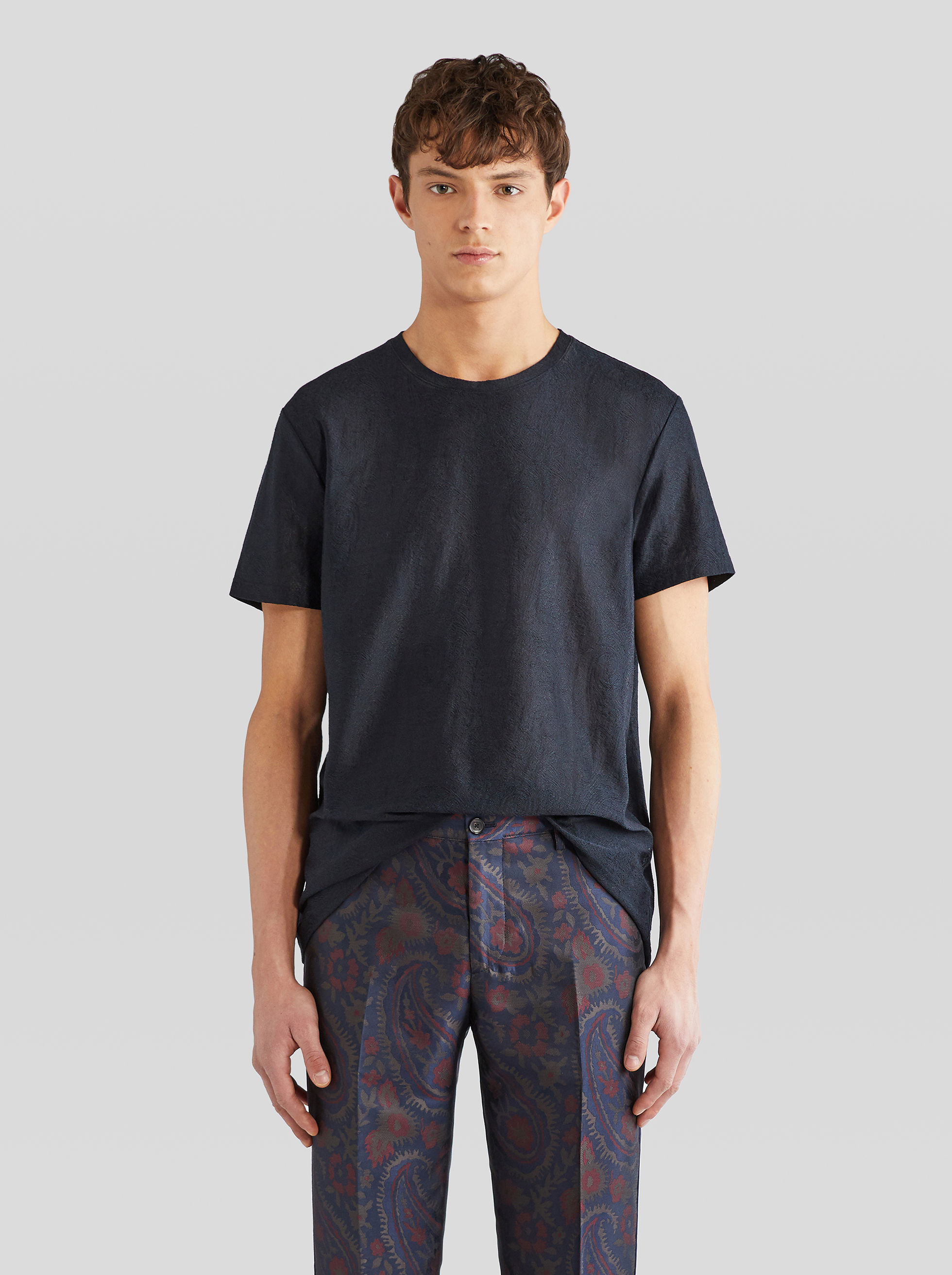 JACQUARD T-SHIRT WITH PAISLEY PATTERNS