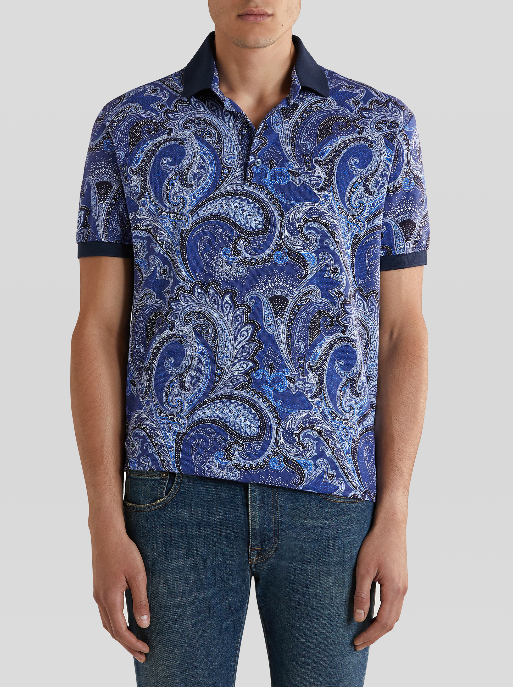 FLORAL PAISLEY PATTERN POLO SHIRT