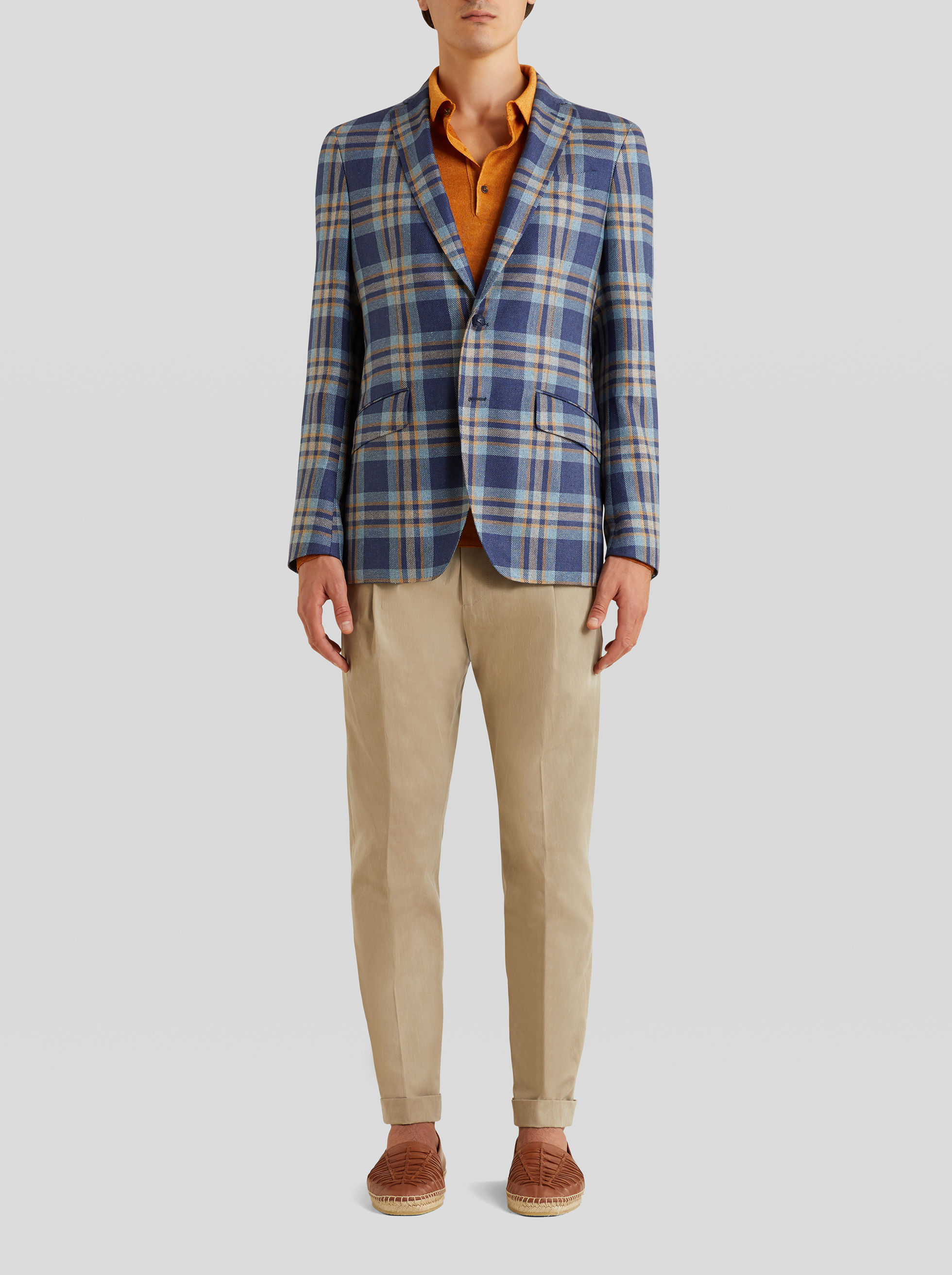 TAILORED JACKET IN CHECK SILK