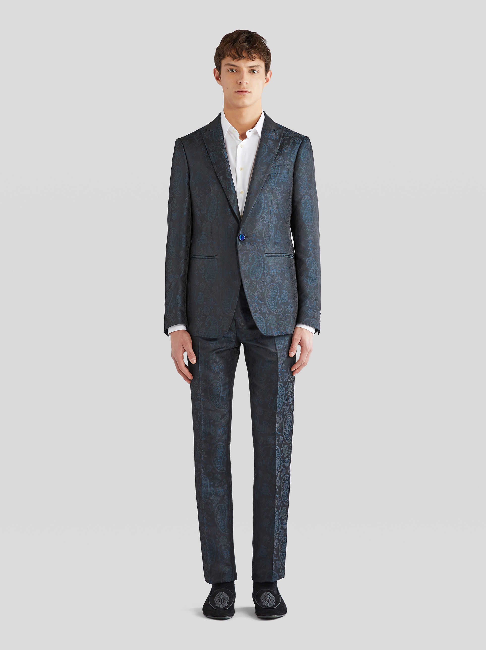 SILK JACQUARD TAILORED TROUSERS