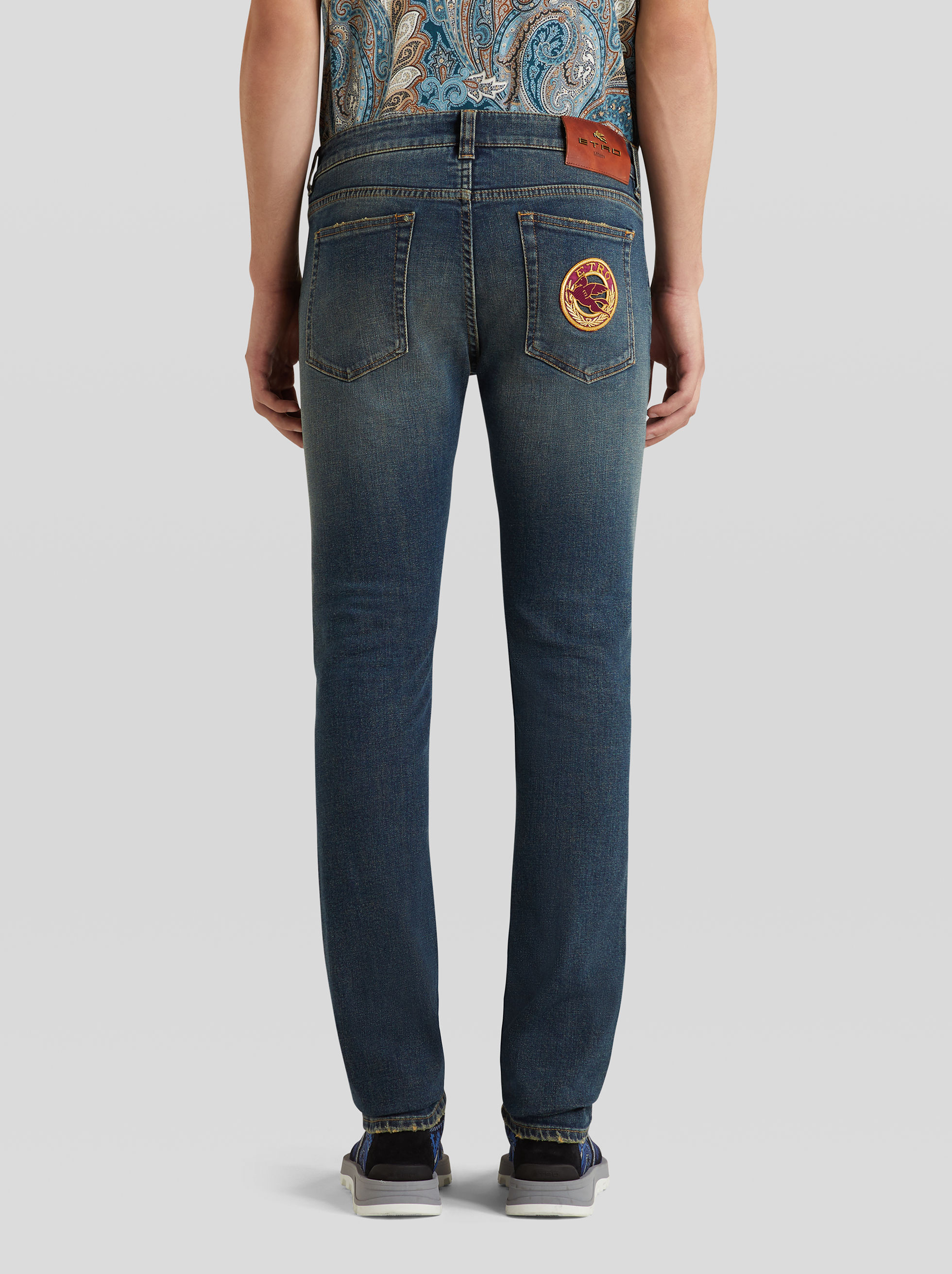 STRETCH DENIM JEANS WITH LOGO