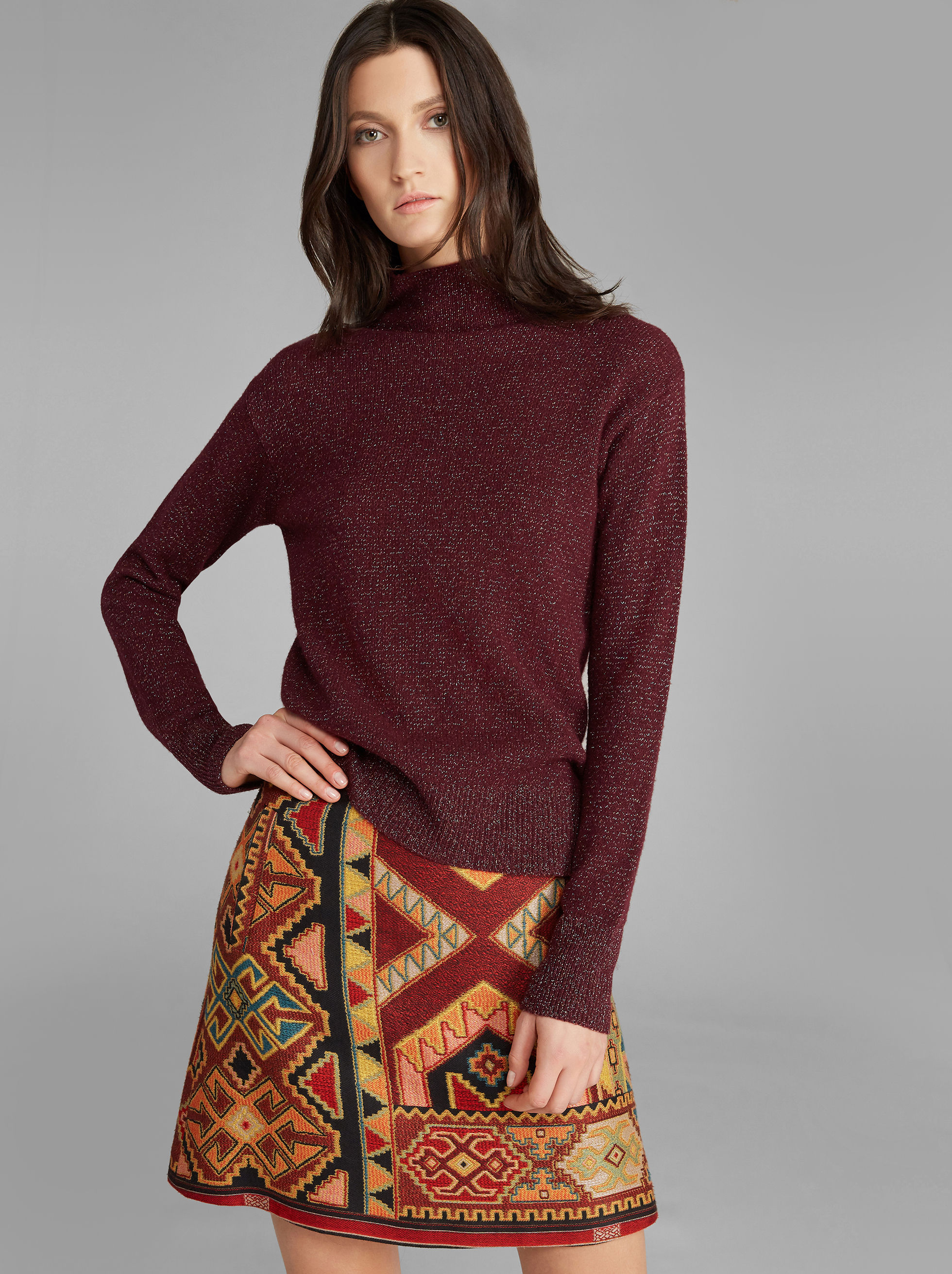 PULLOVER MIT LUREX-STICKEREI