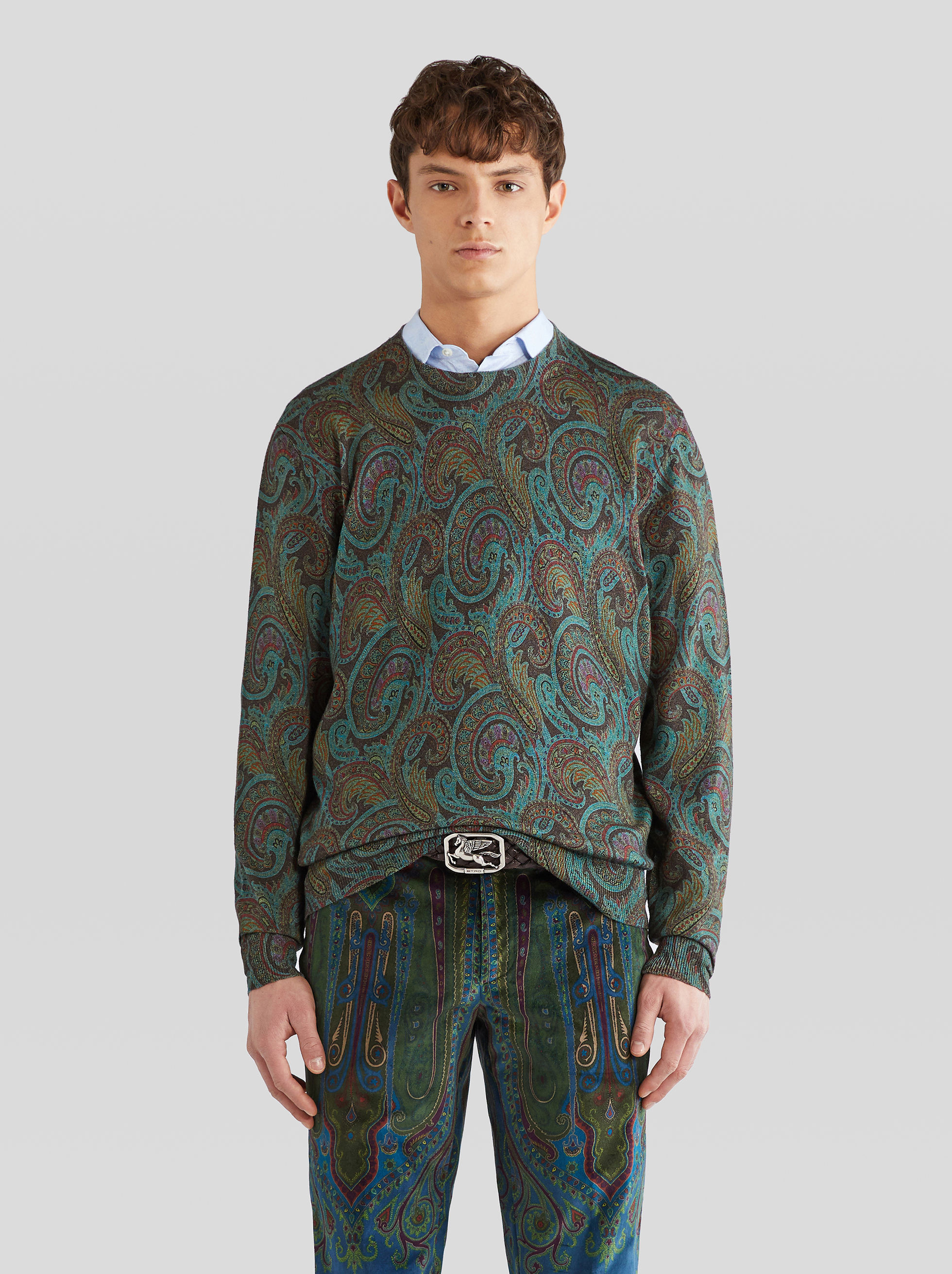 WOOL JUMPER WITH PAISLEY PATTERNS