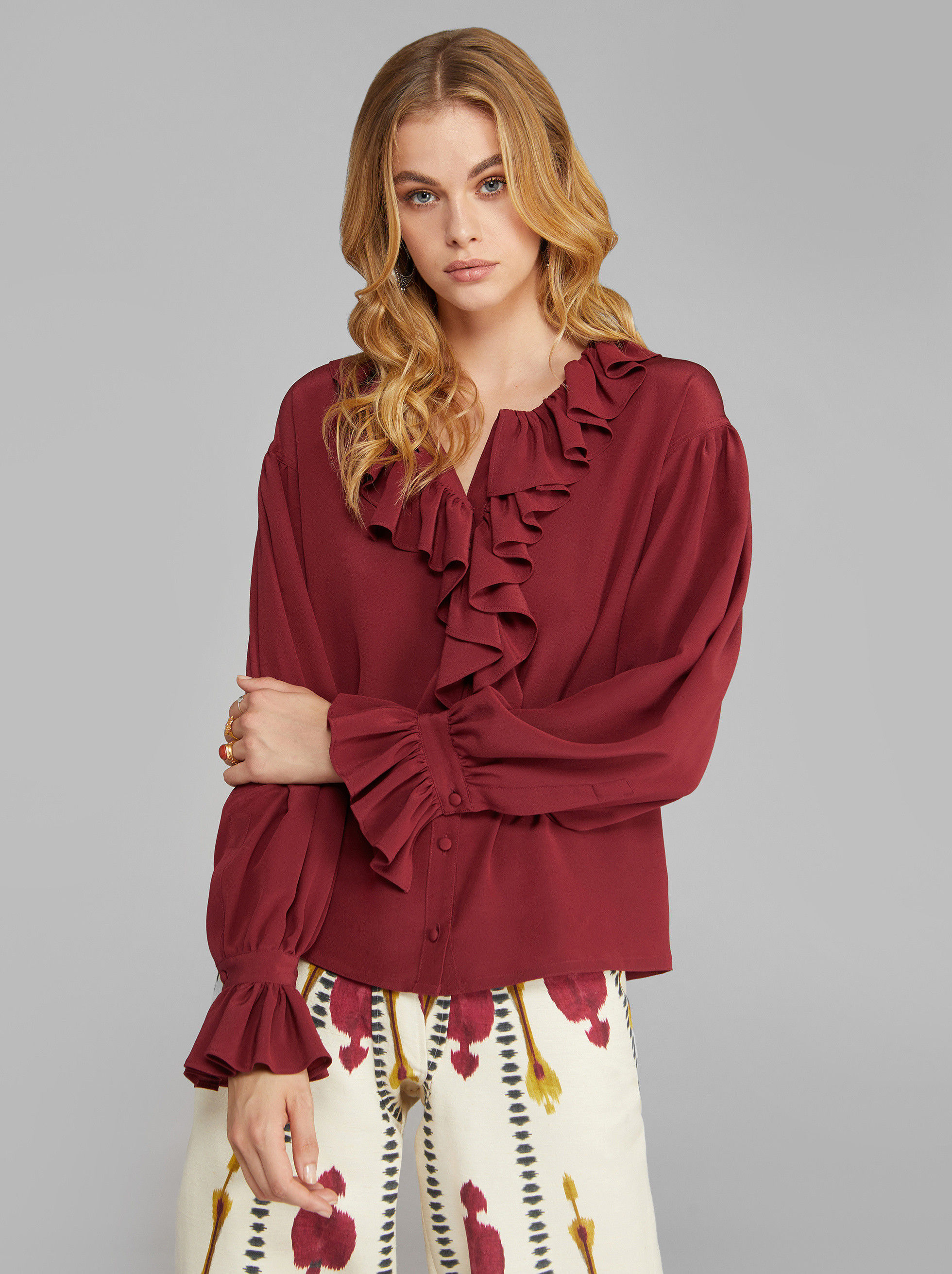 CRÊPE DE CHINE SHIRT WITH RUFFLES