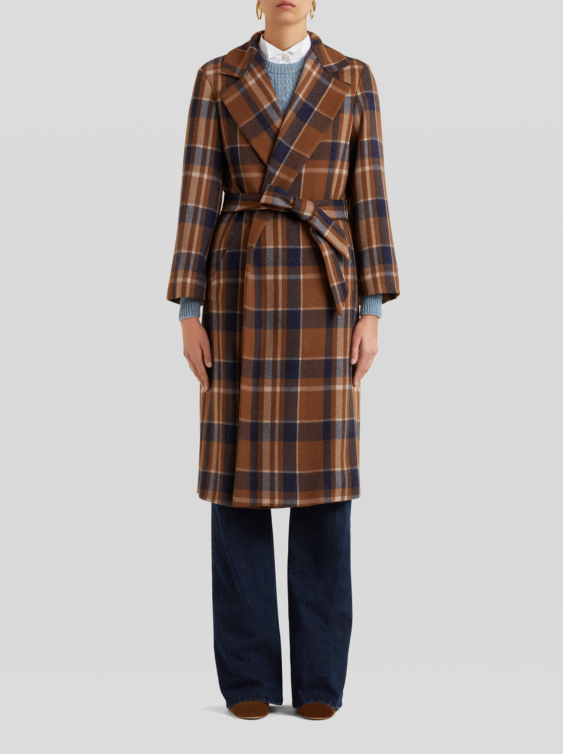 LIGHT WOOL TARTAN COAT