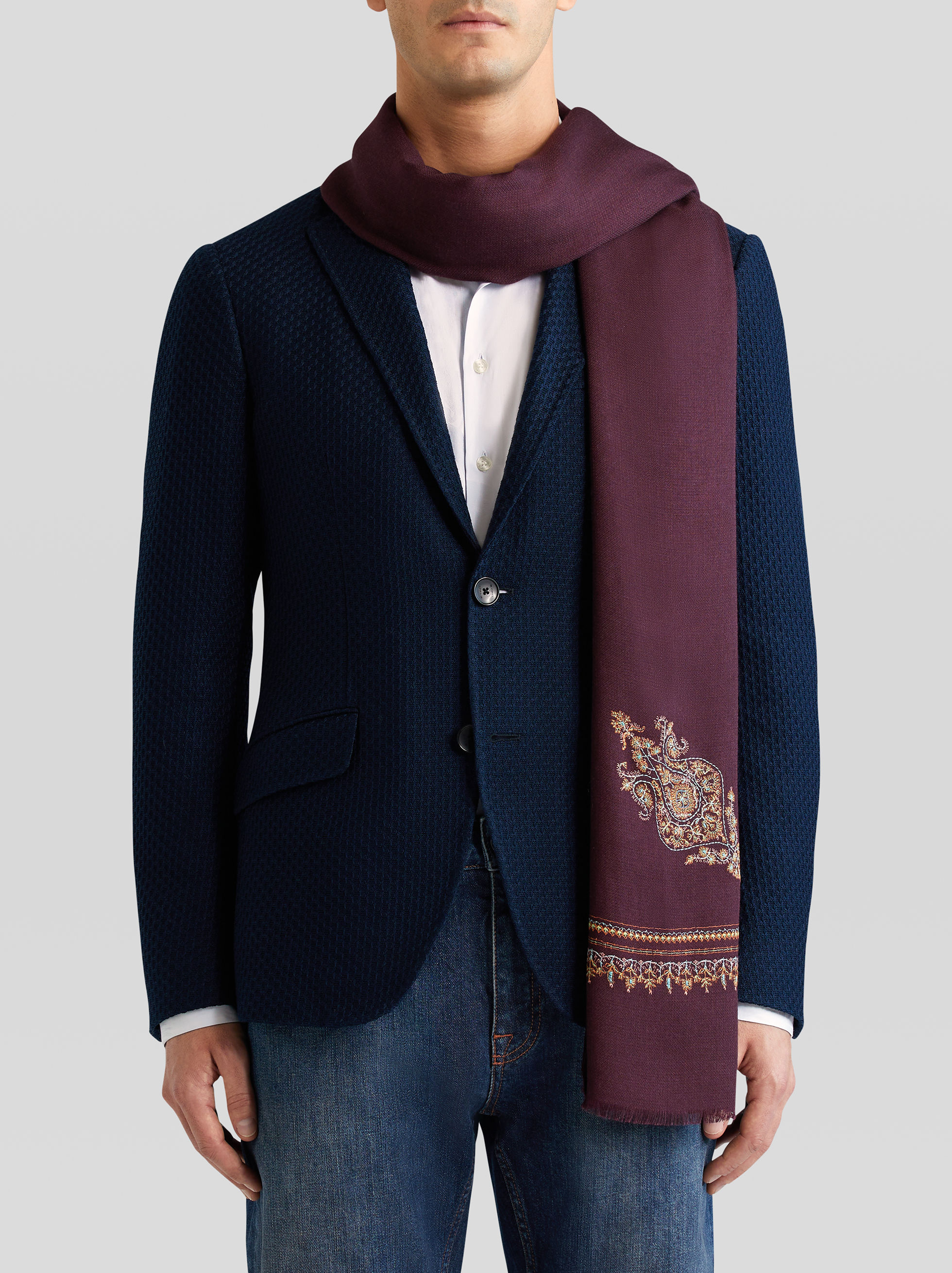 SILK AND CASHMERE SCARF WITH PAISLEY EMBROIDERY