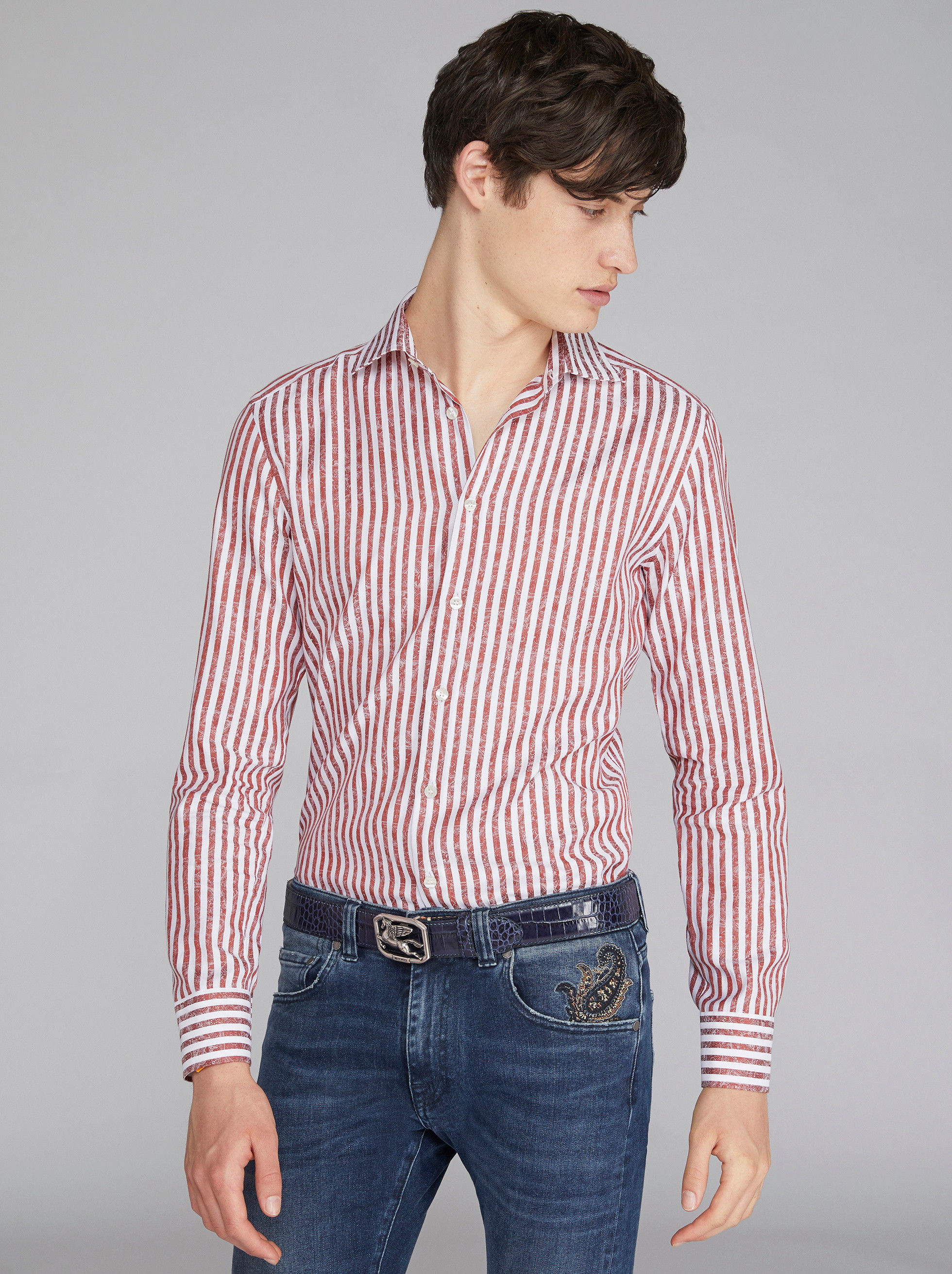 STRIPED JACQUARD COTTON SHIRT