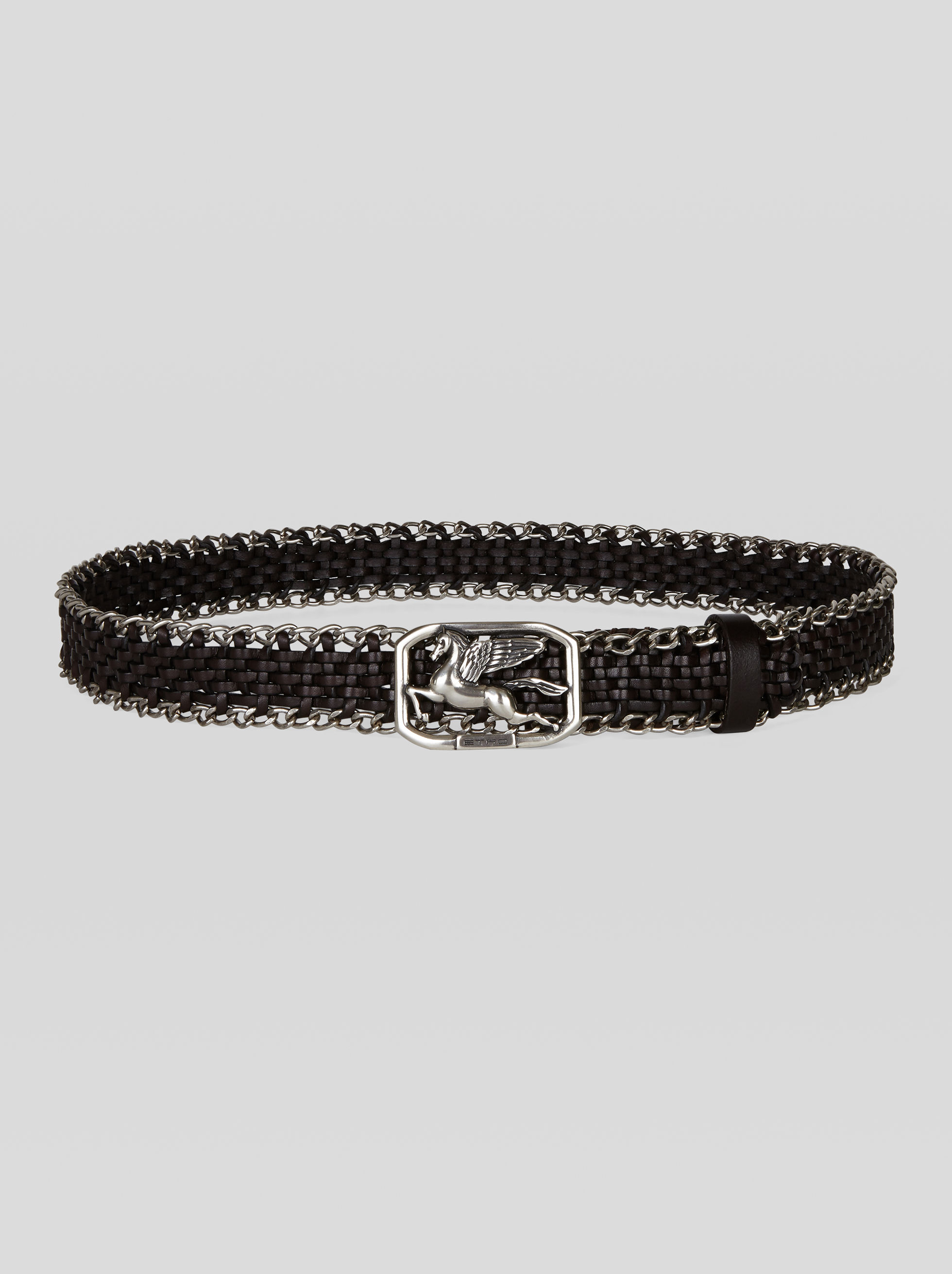 WOVEN LEATHER BELT WITH CHAINS
