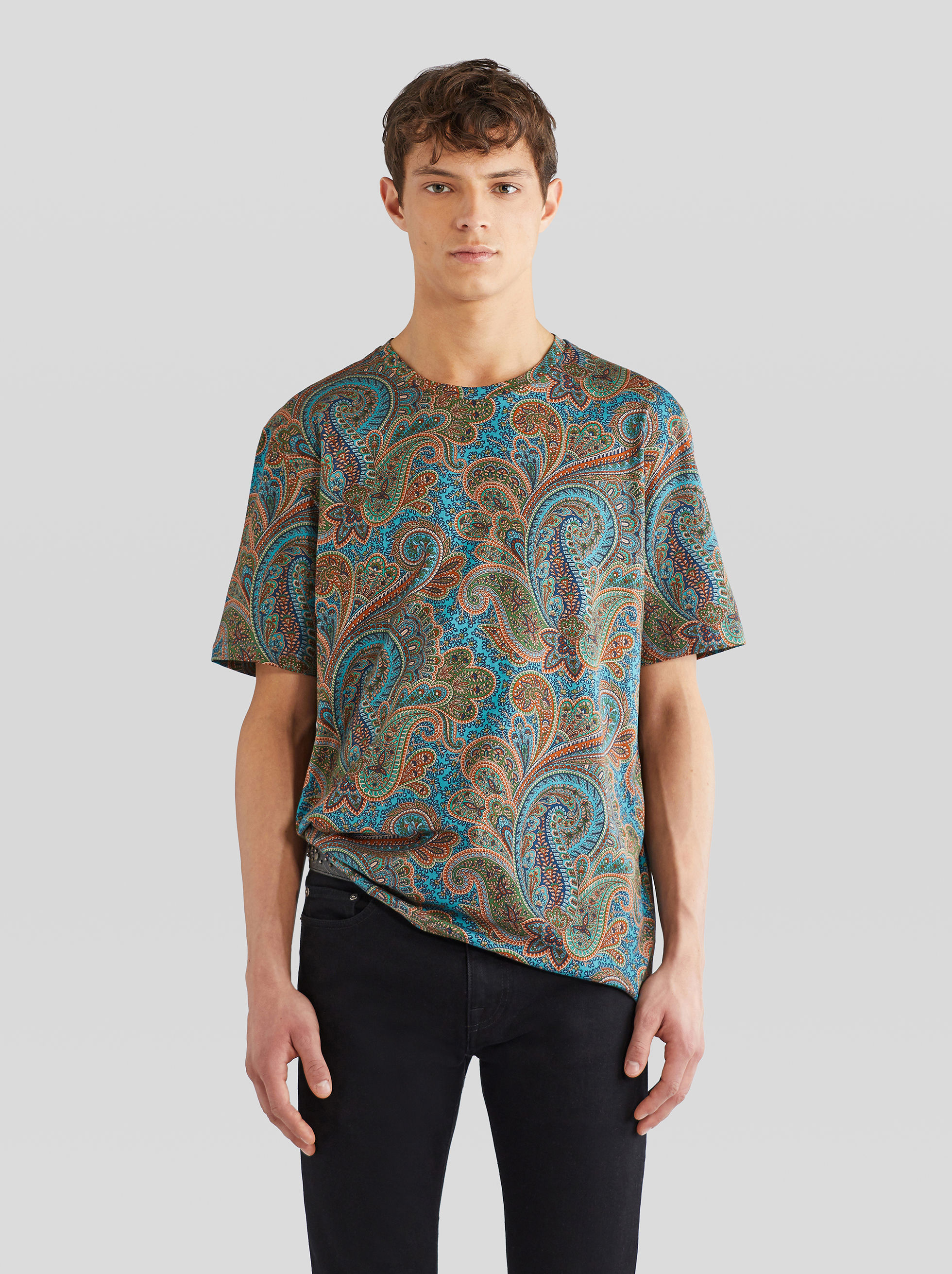 FLORAL PAISLEY PRINT COTTON T-SHIRT