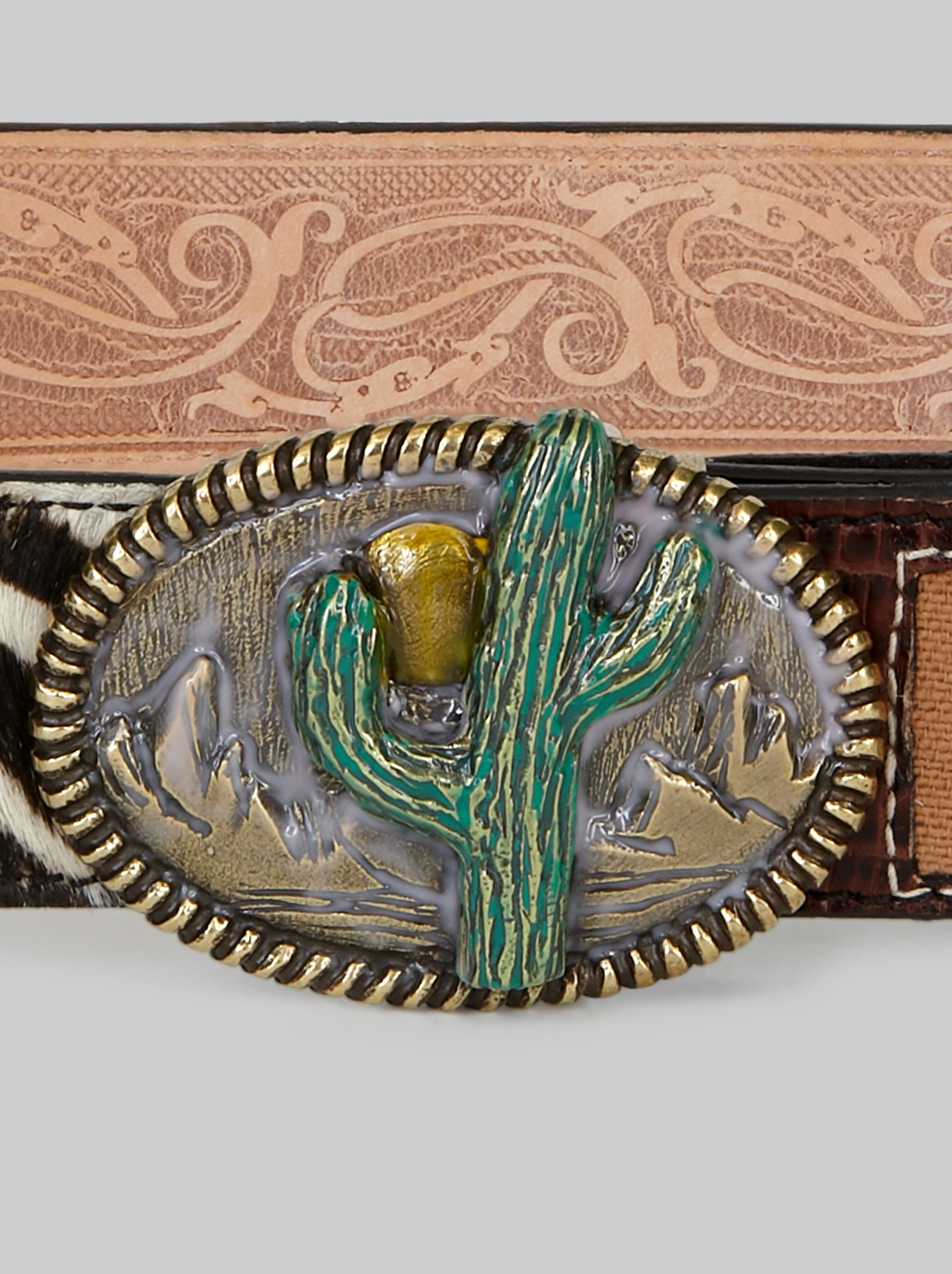 LEATHER BELT WITH CACTUS BUCKLE