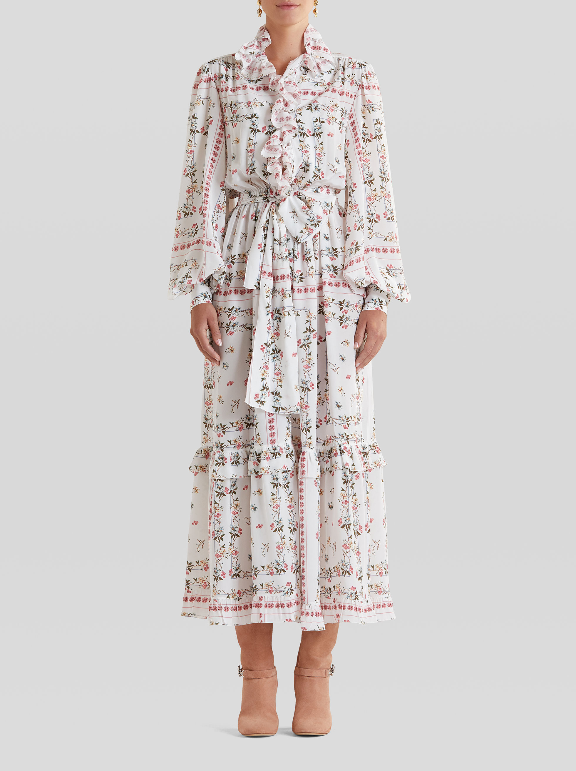 FLORAL CRÊPE DE CHINE DRESS