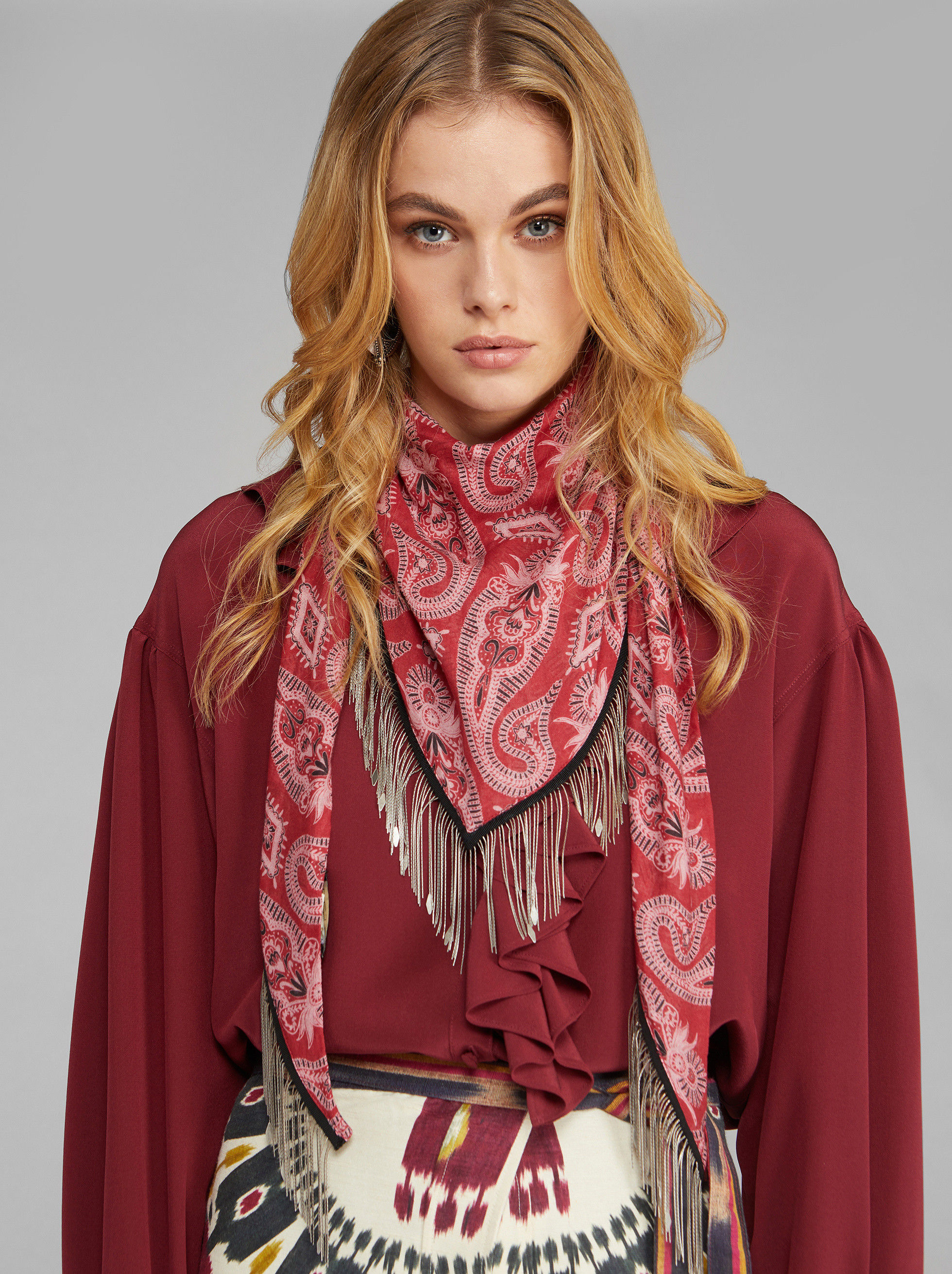 PAISLEY SHAWL WITH JEWEL FRINGE