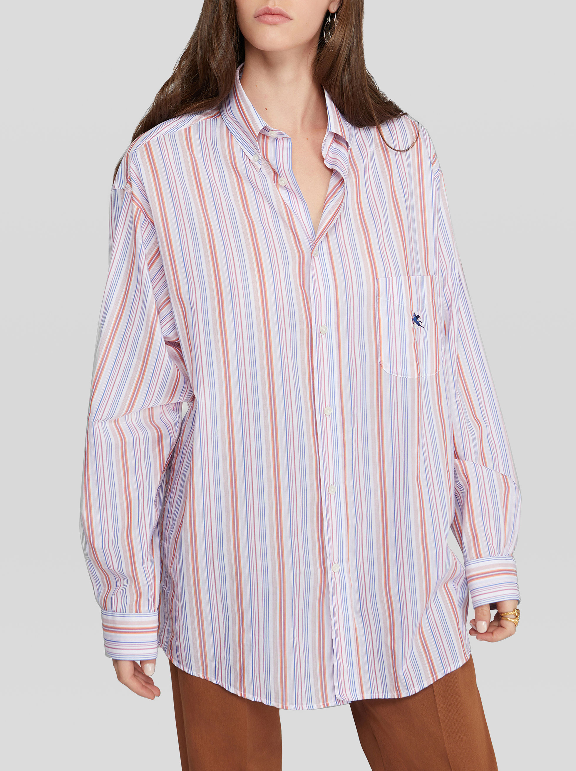 SHIRT IN STRIPED COTTON WITH PEGASO