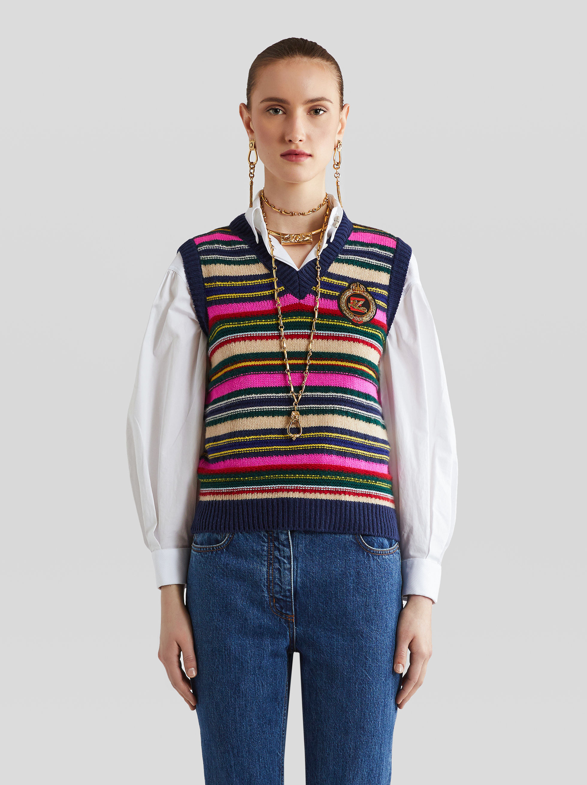 STRIPED WOOL GILET WITH EMBROIDERED PEGASO